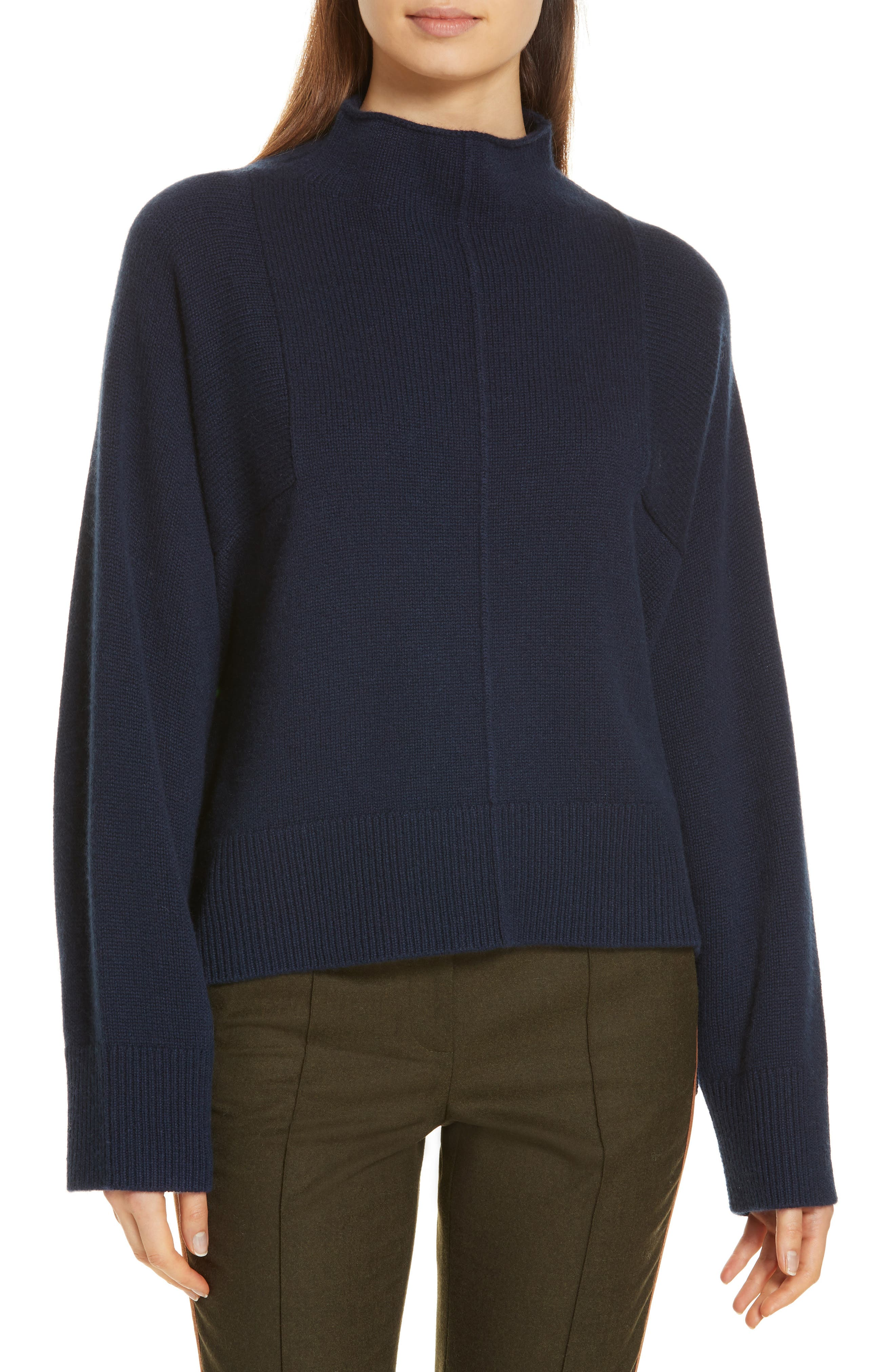 Side Slit Cashmere Sweater,                             Main thumbnail 1, color,                             NAVY MEDIEVAL