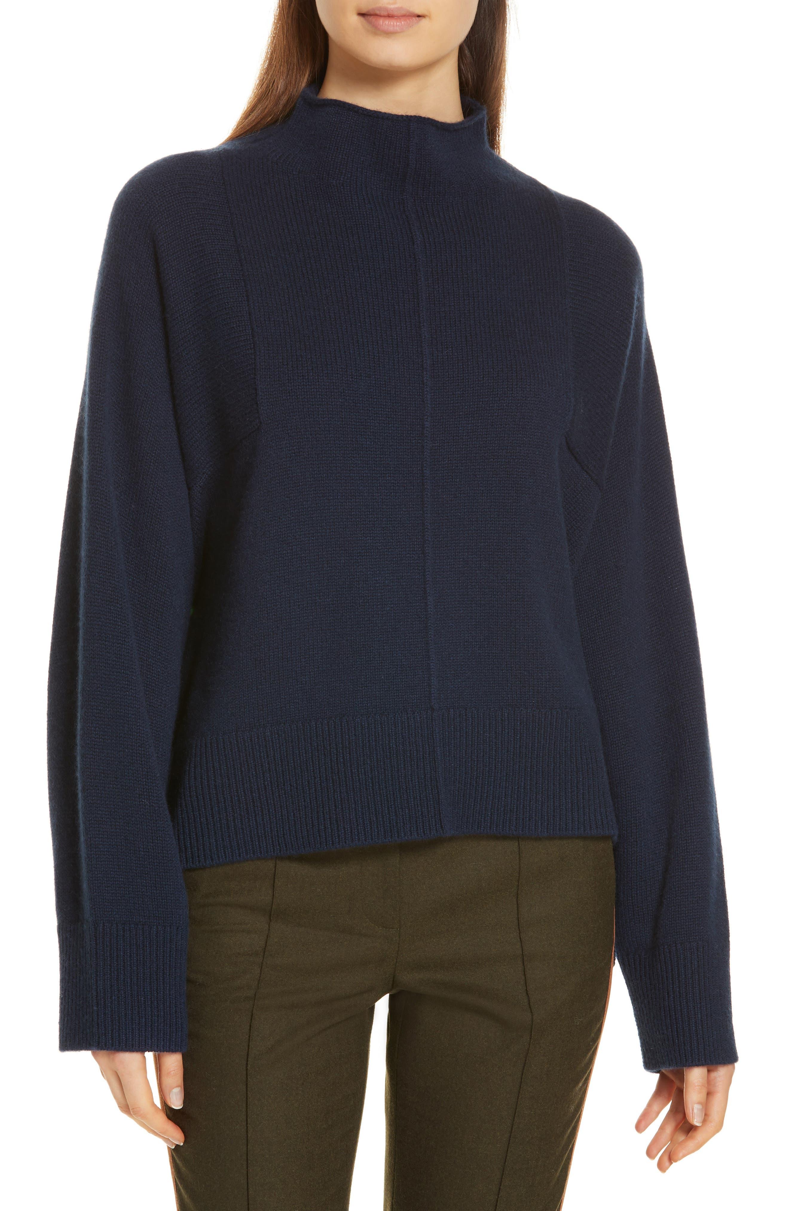 Side Slit Cashmere Sweater,                         Main,                         color, NAVY MEDIEVAL