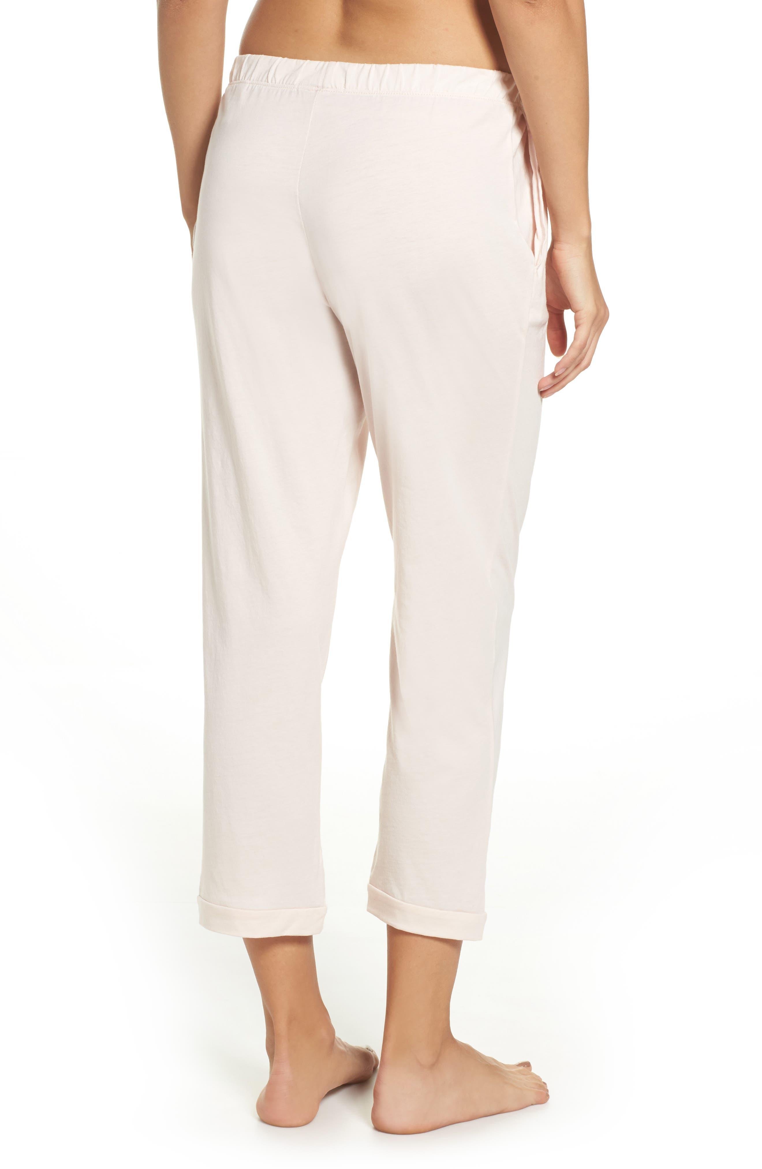 Parisa Crop Pima Cotton Lounge Pants,                             Alternate thumbnail 2, color,