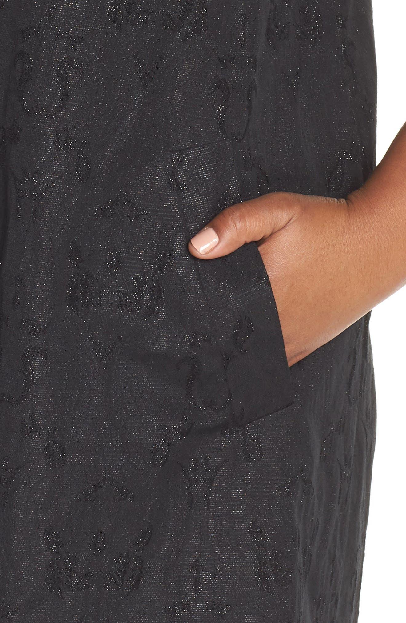 Metallic Jacquard Collarless Jacket,                             Alternate thumbnail 11, color,                             BLACK