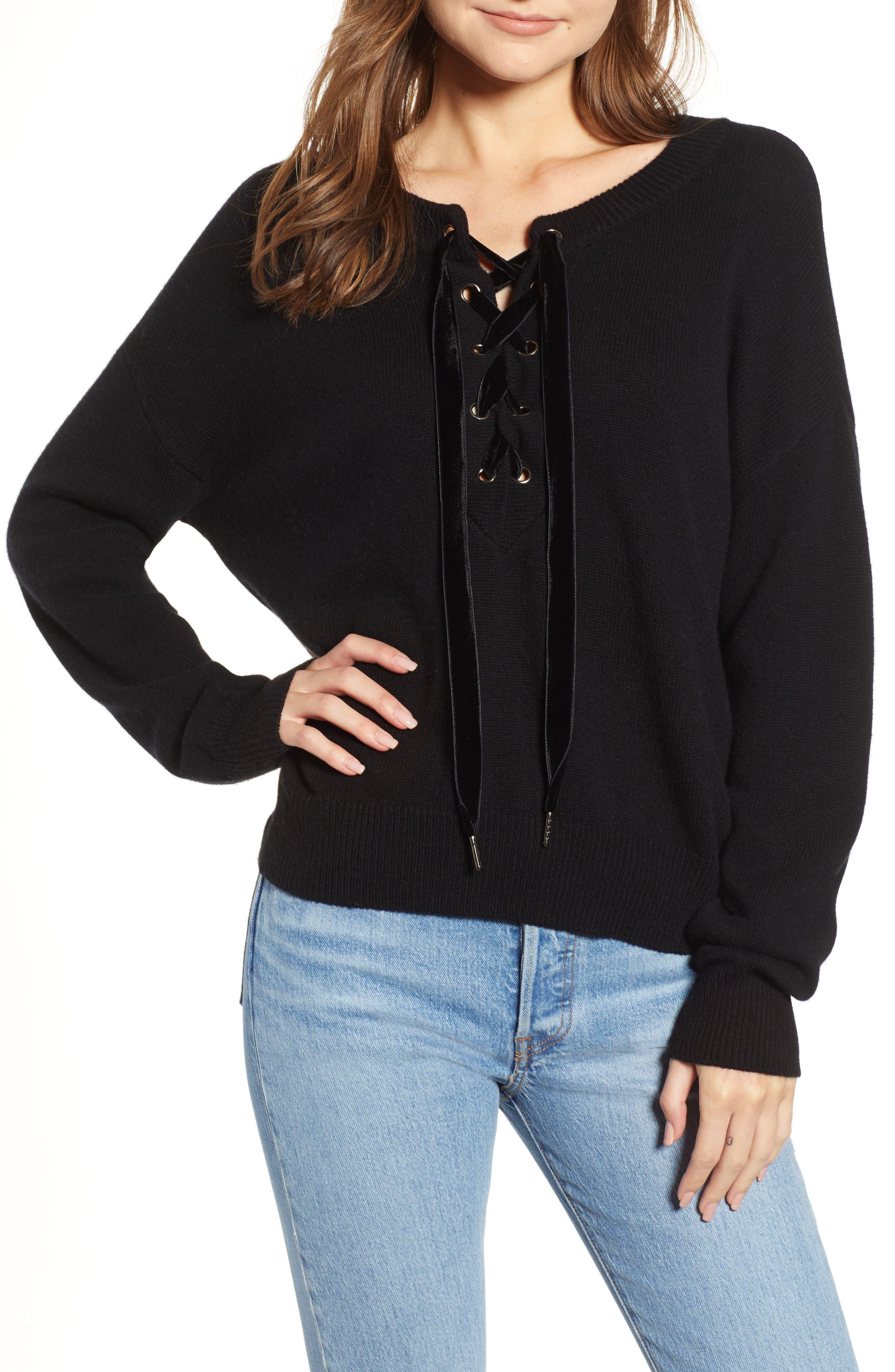 Rails Olivia Wool & Cashmere Lace-Up Sweater, Black