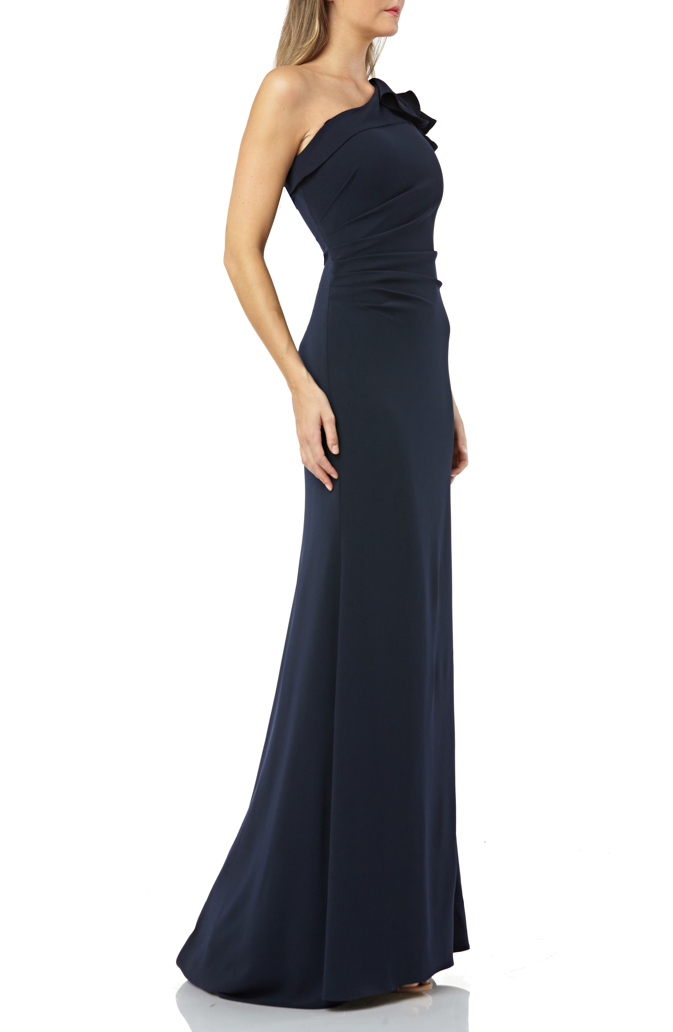One-Shoulder Gown,                             Alternate thumbnail 3, color,                             MIDNIGHT