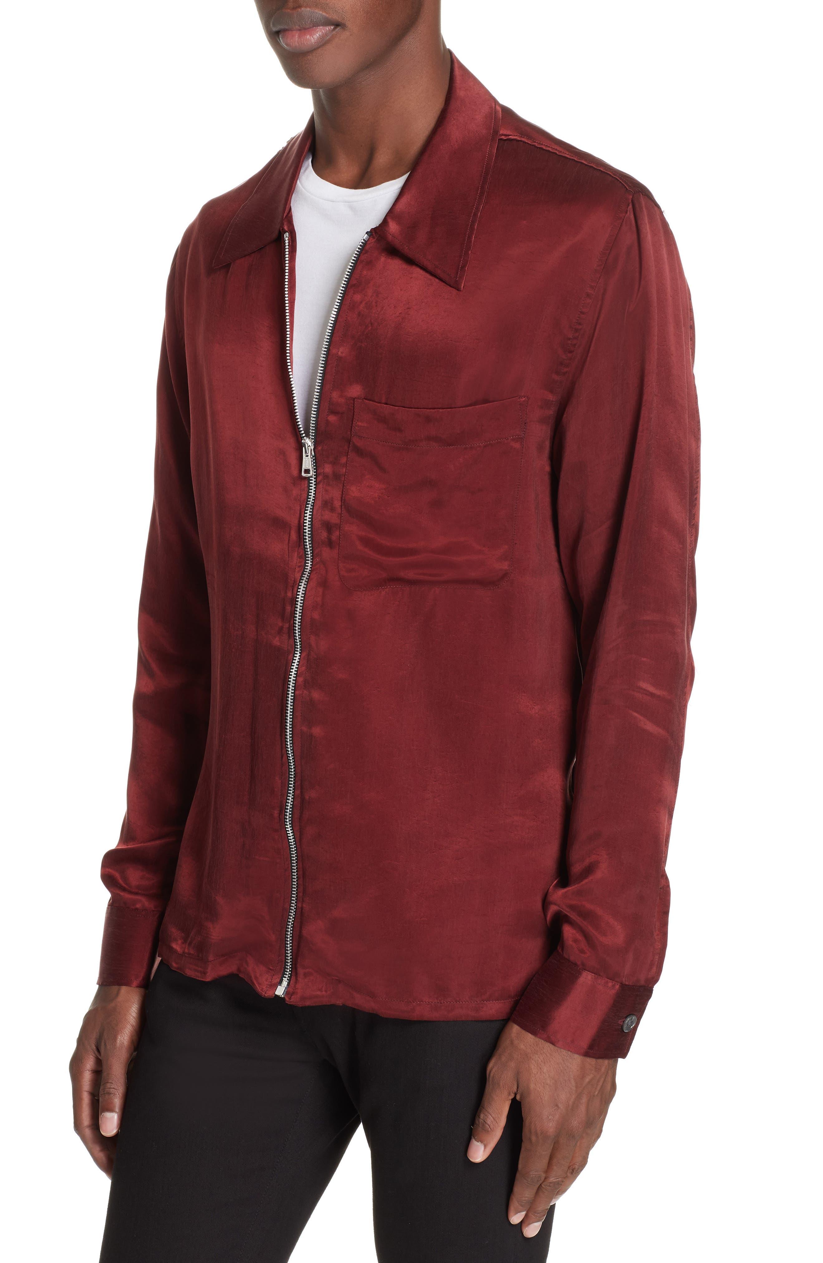 Long Sleeve Zip Shirt,                             Alternate thumbnail 4, color,                             RED