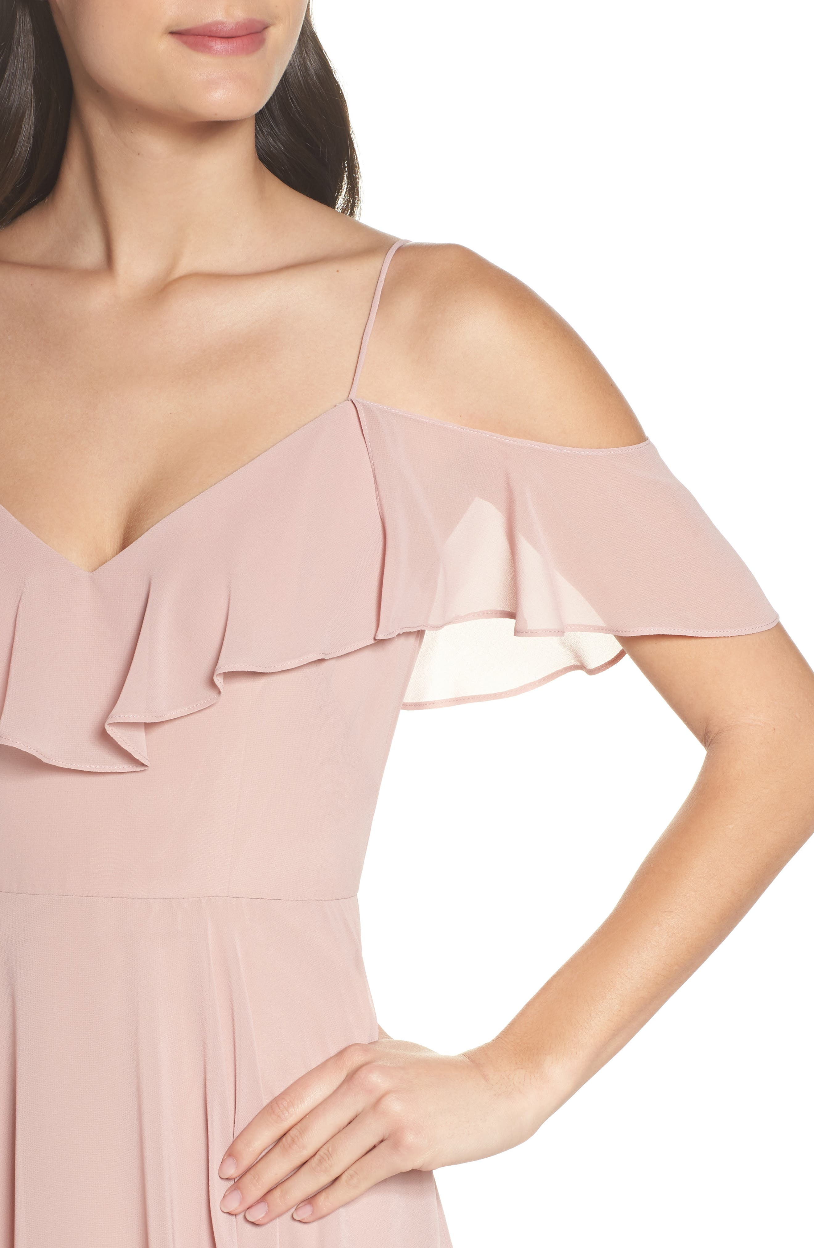 Kelli Cold Shoulder Chiffon Dress,                             Alternate thumbnail 4, color,                             664