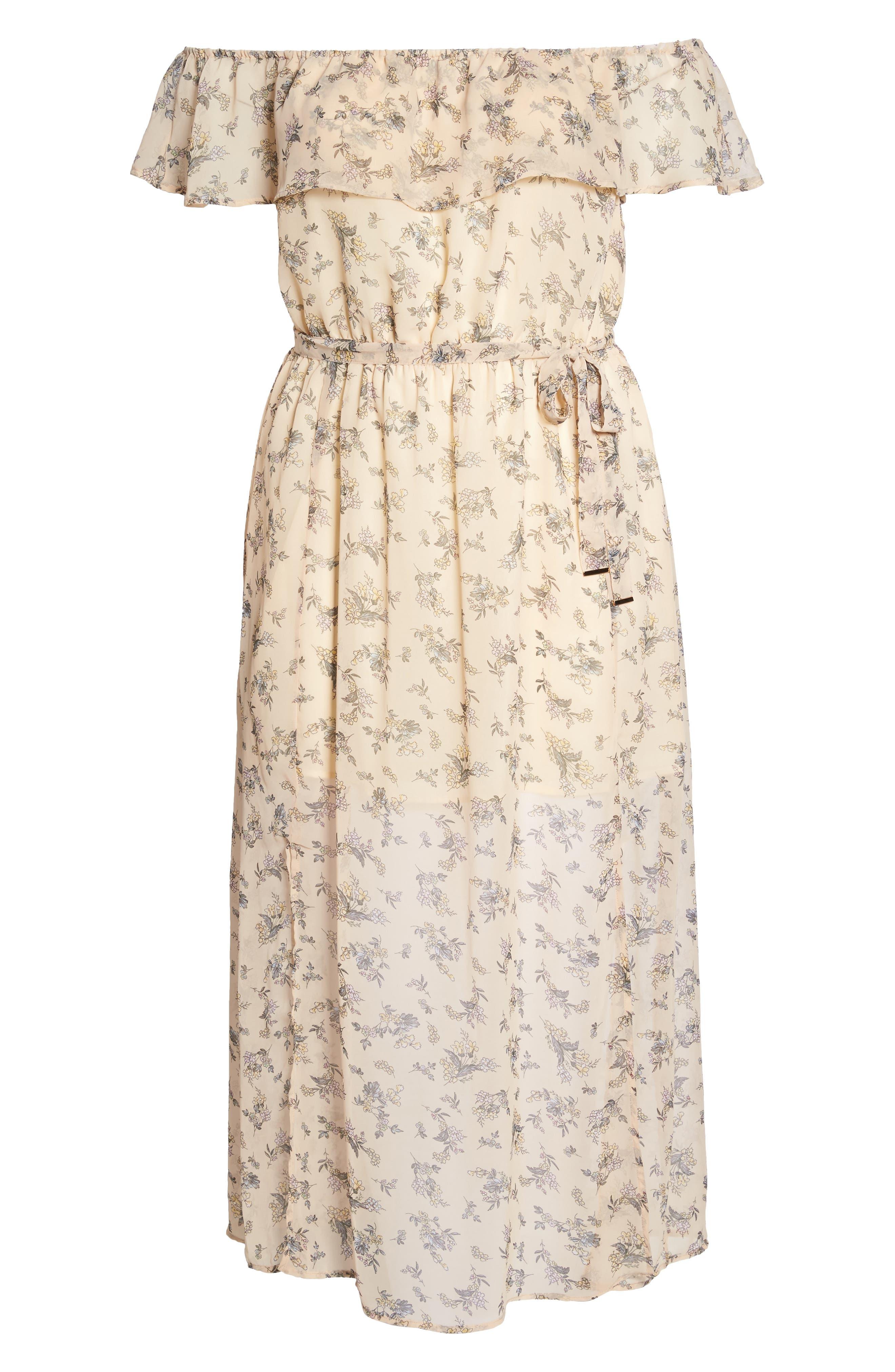 Print Off-the-Shoulder Maxi Dress,                             Alternate thumbnail 6, color,                             650