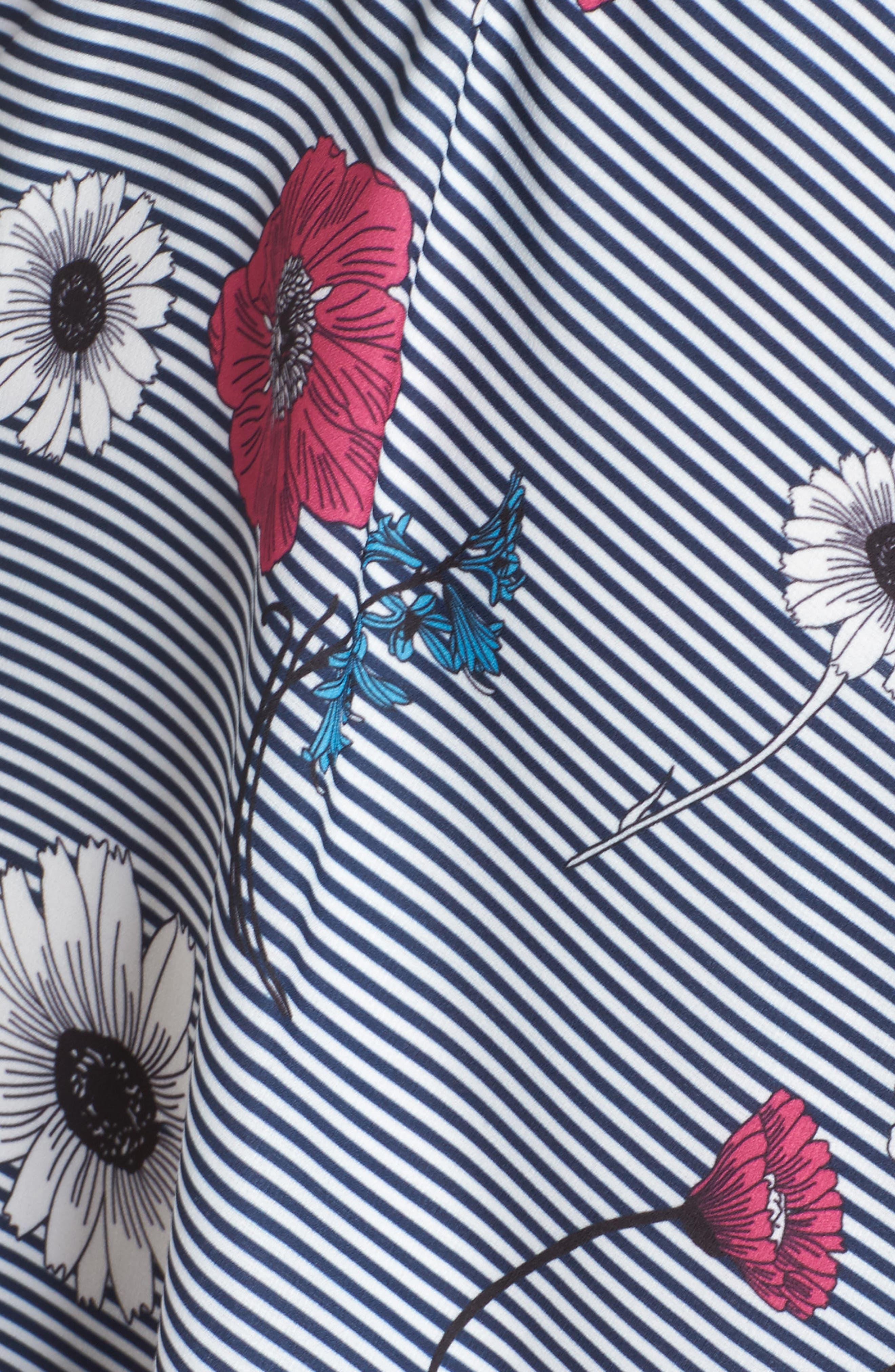 Floral Stripe Belted Dress,                             Alternate thumbnail 5, color,                             400