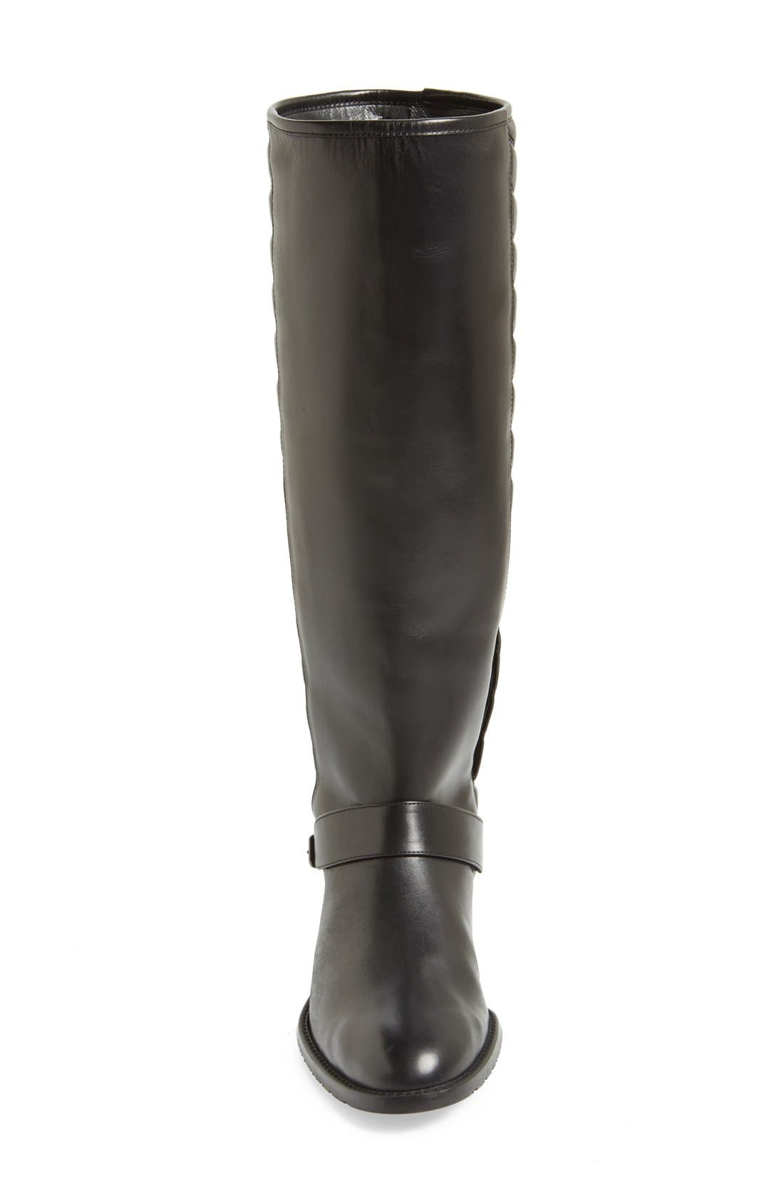 'Raceway' Quilted Shaft Riding Boot,                             Alternate thumbnail 3, color,                             001