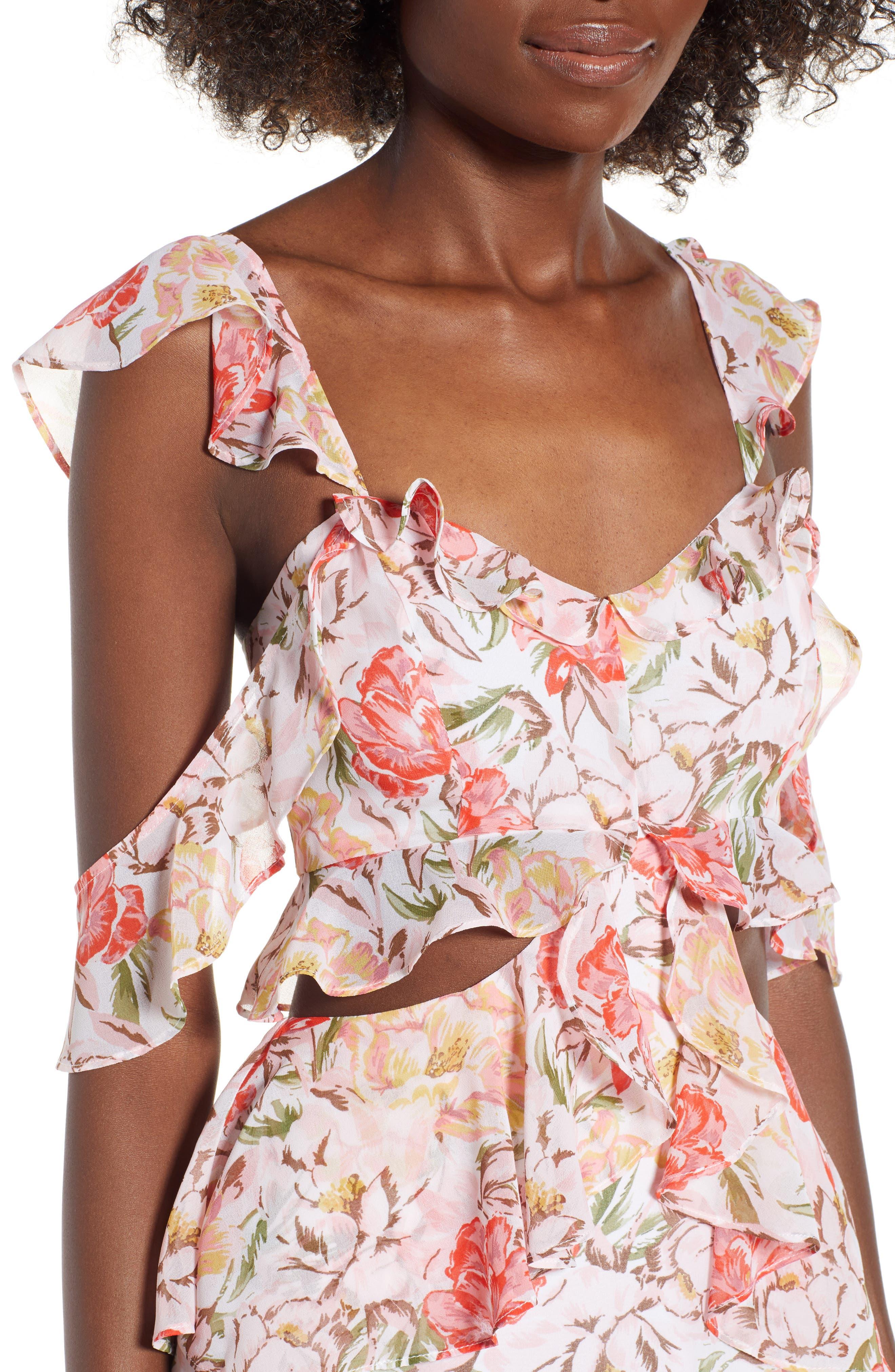 Milan Cut Out Ruffle Maxi Dress,                             Alternate thumbnail 4, color,