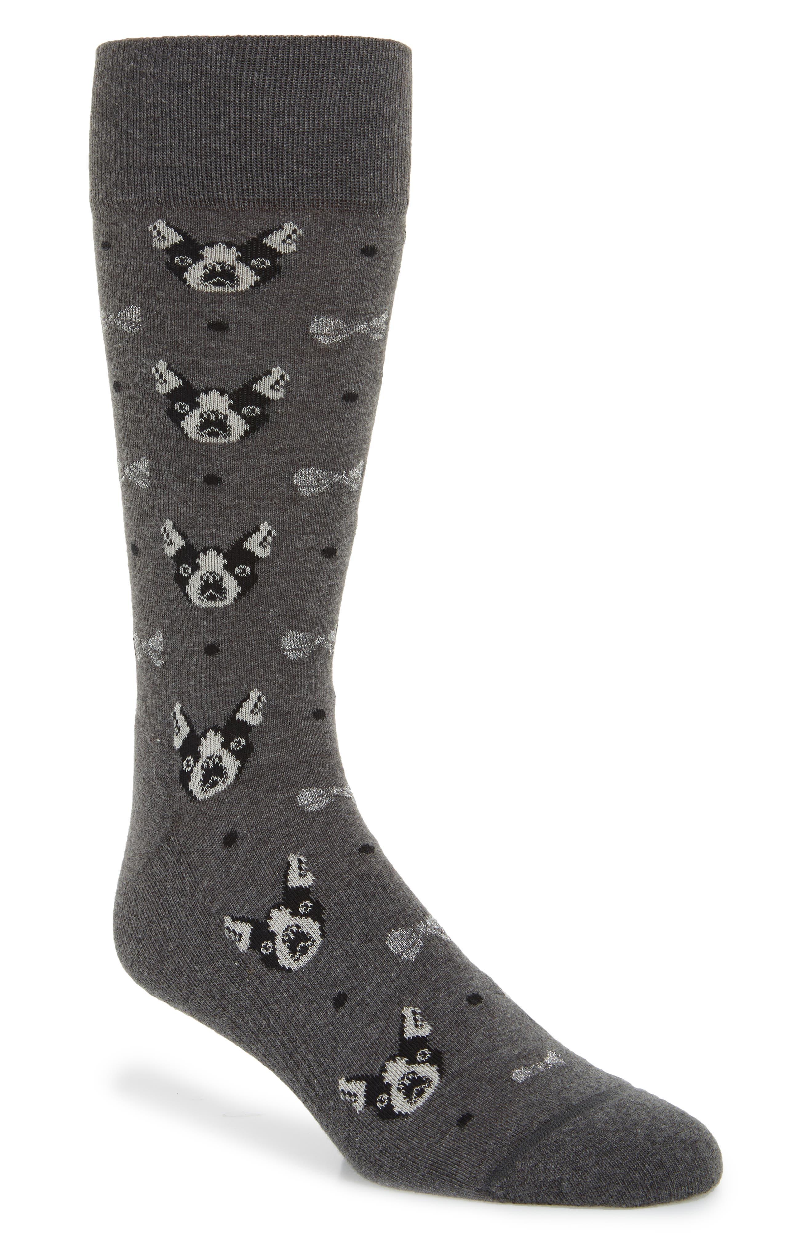 Boston Terrier Socks,                         Main,                         color, CHARCOAL HEATHER