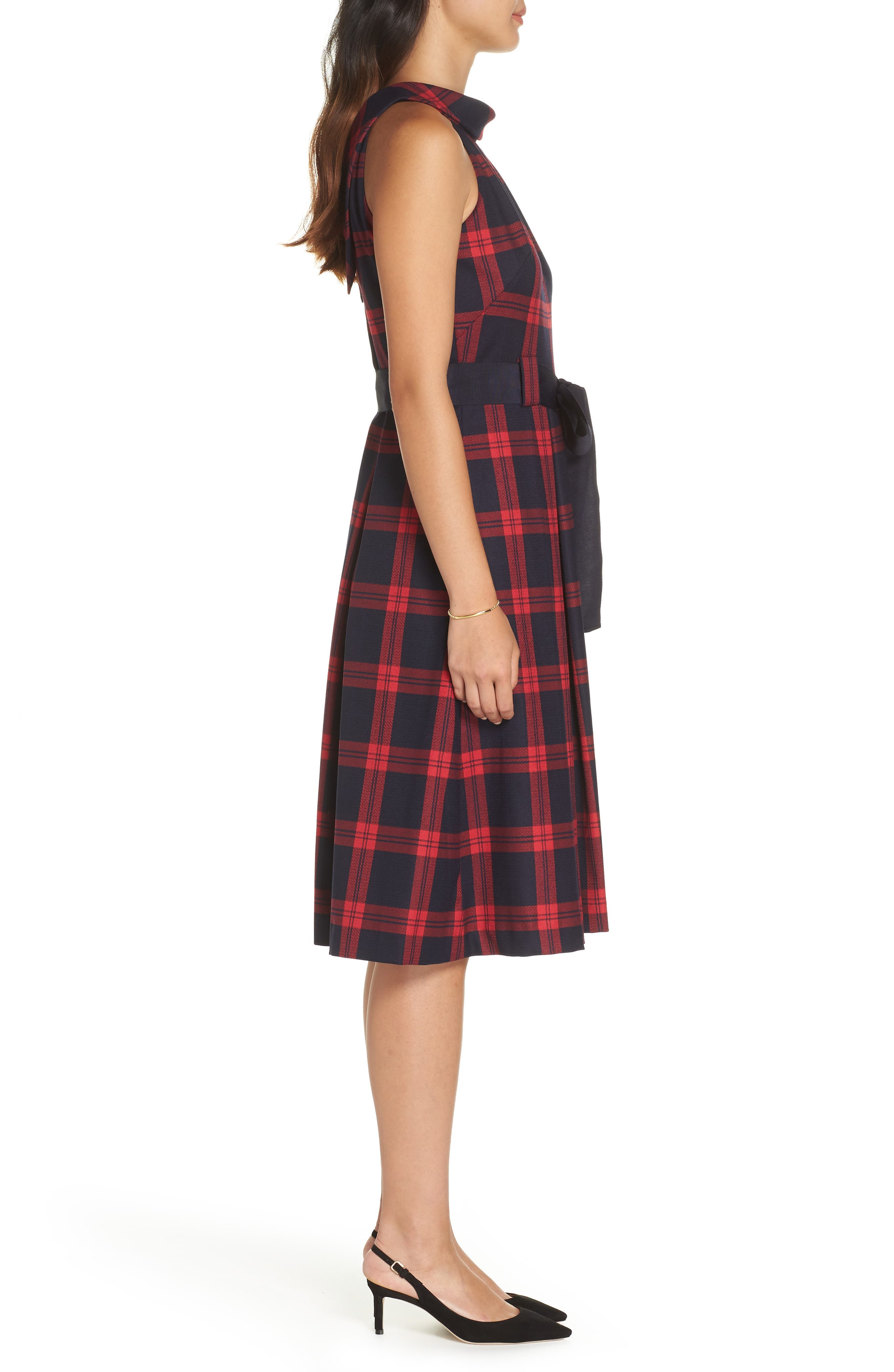 Jacquard Fit & Flare Dress,                             Alternate thumbnail 3, color,                             RED- NAVY PLAID