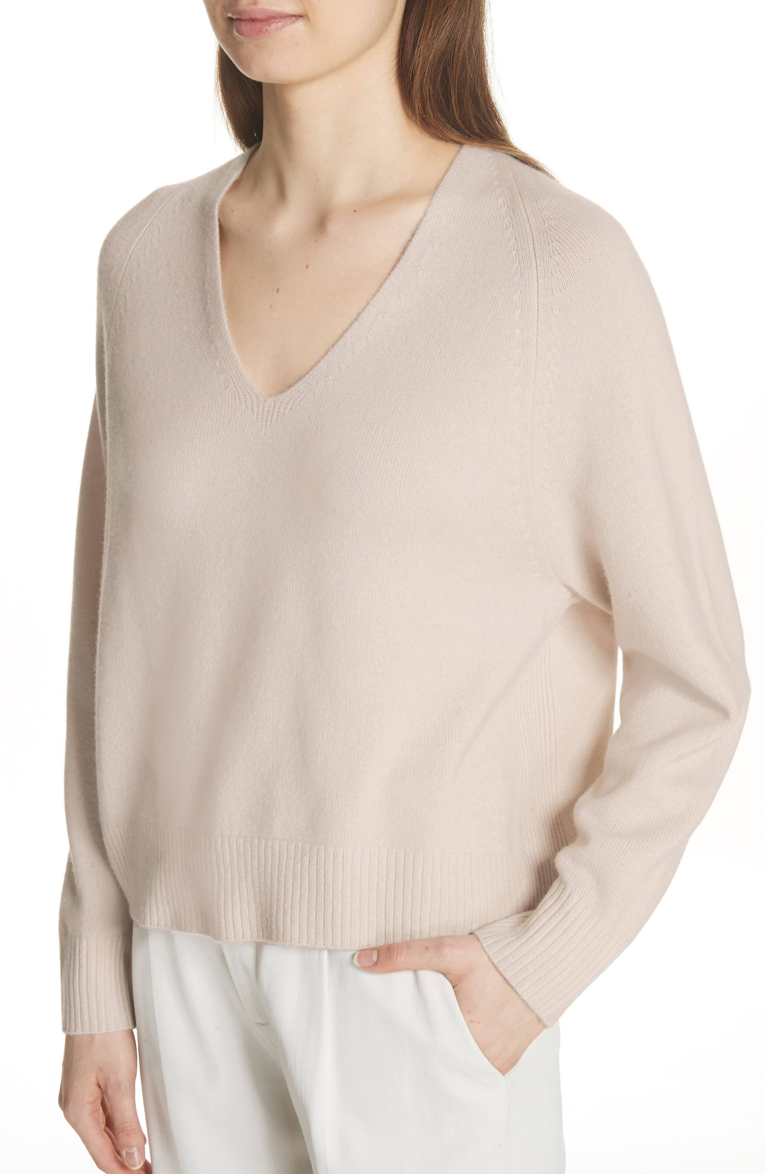 Cashmere Raglan Sleeve Sweater,                             Alternate thumbnail 4, color,                             SANDSTONE