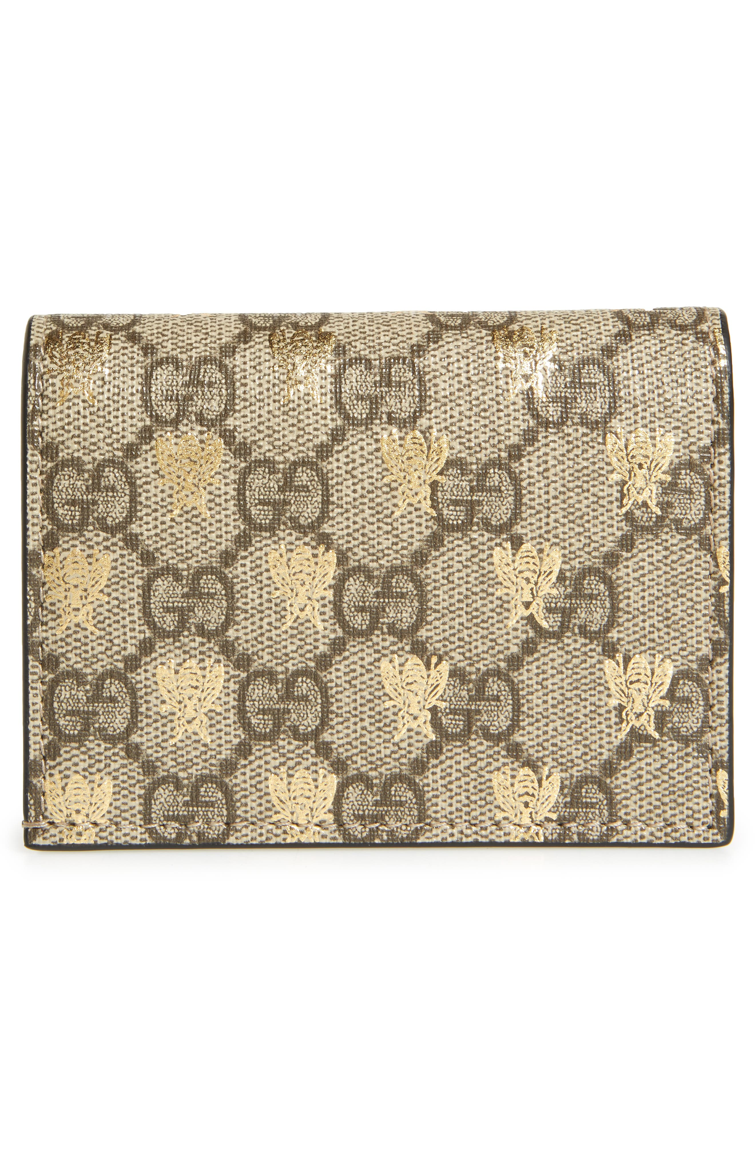 GG Supreme Bee Canvas Bifold Wallet,                             Alternate thumbnail 3, color,