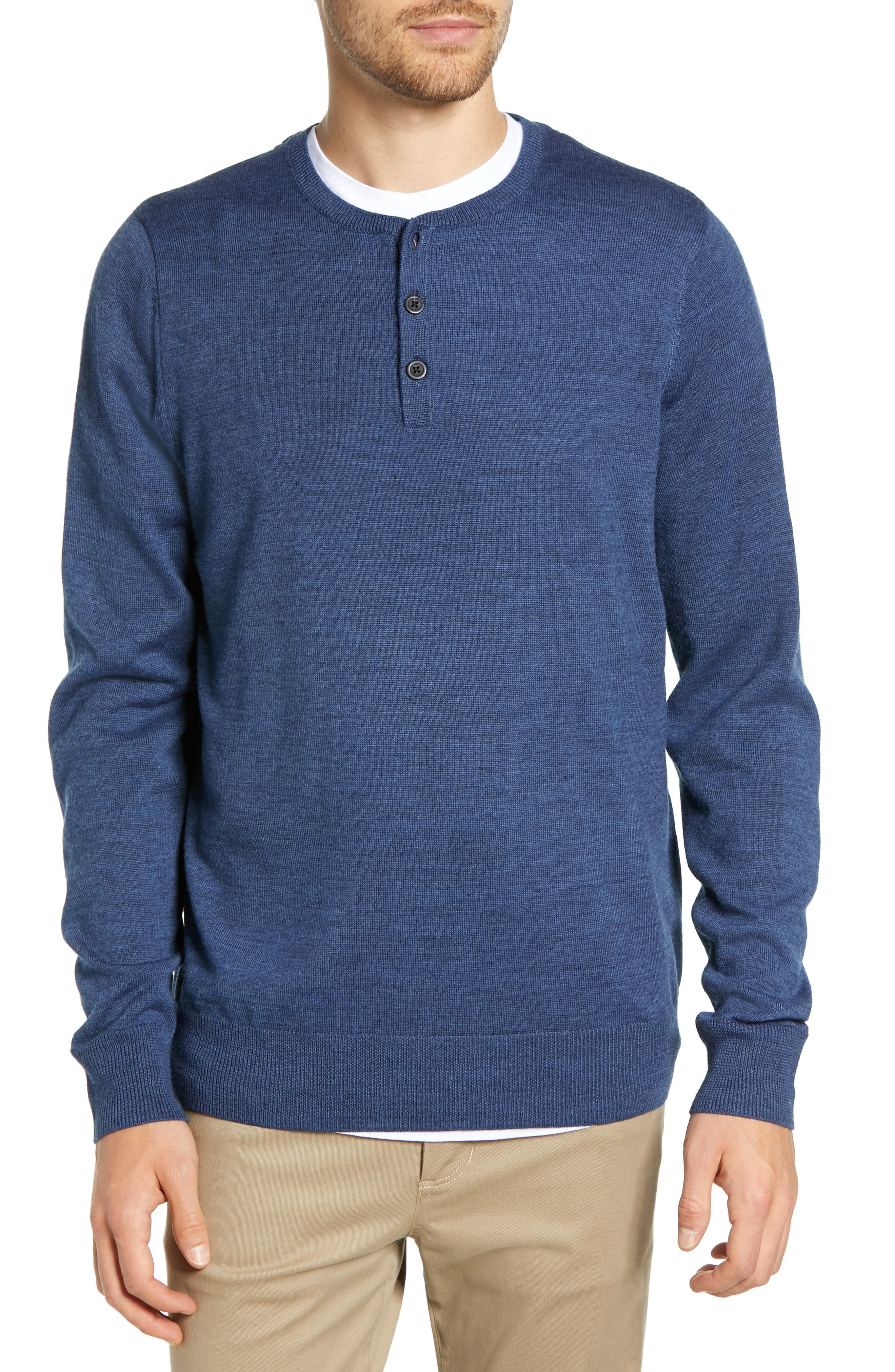 Nordstrom Shop Regular Fit Wool Blend Henley Sweater, Blue