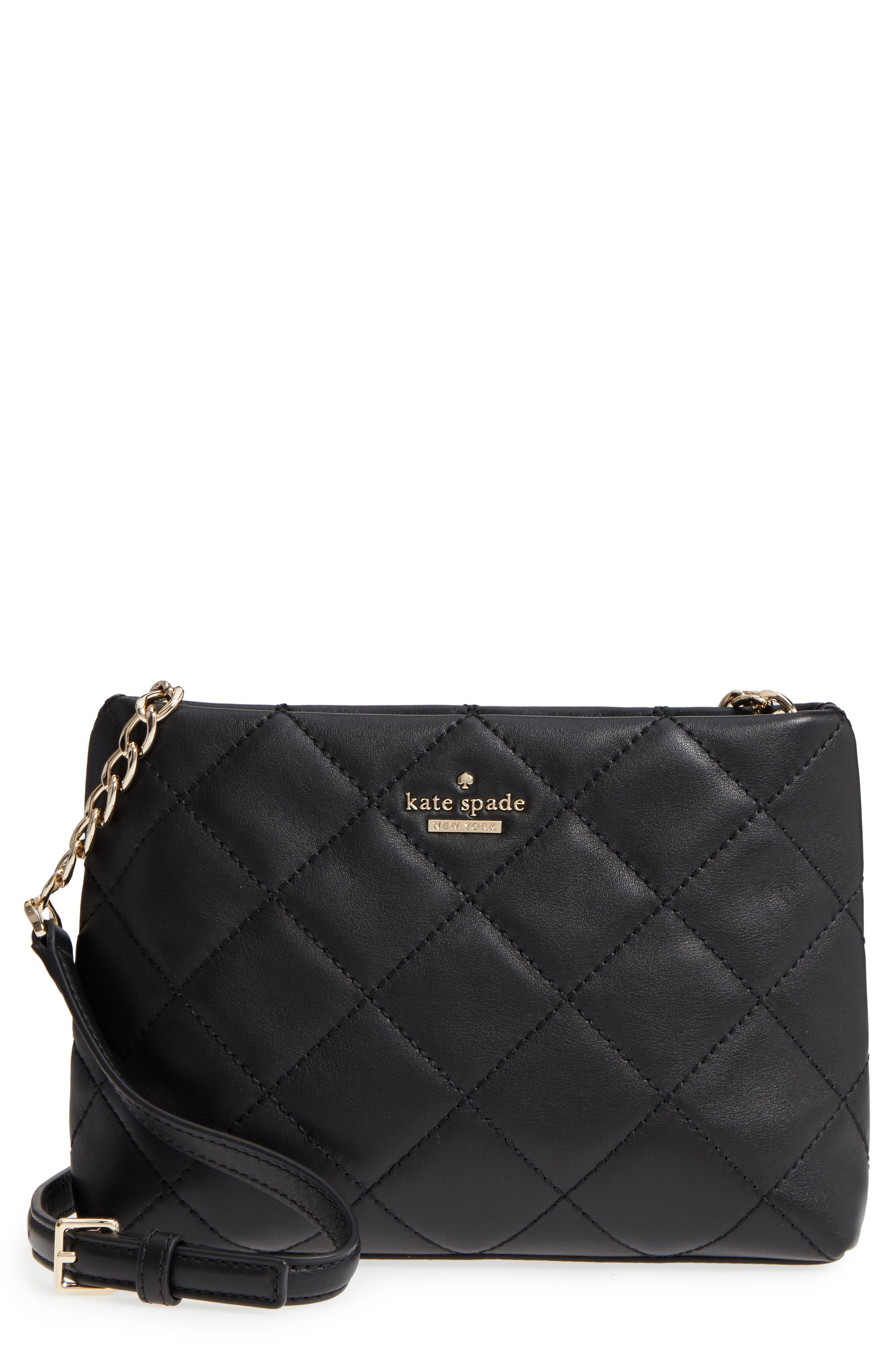 KATE SPADE NEW YORK emerson place caterina leather crossbody bag, Main, color, 001