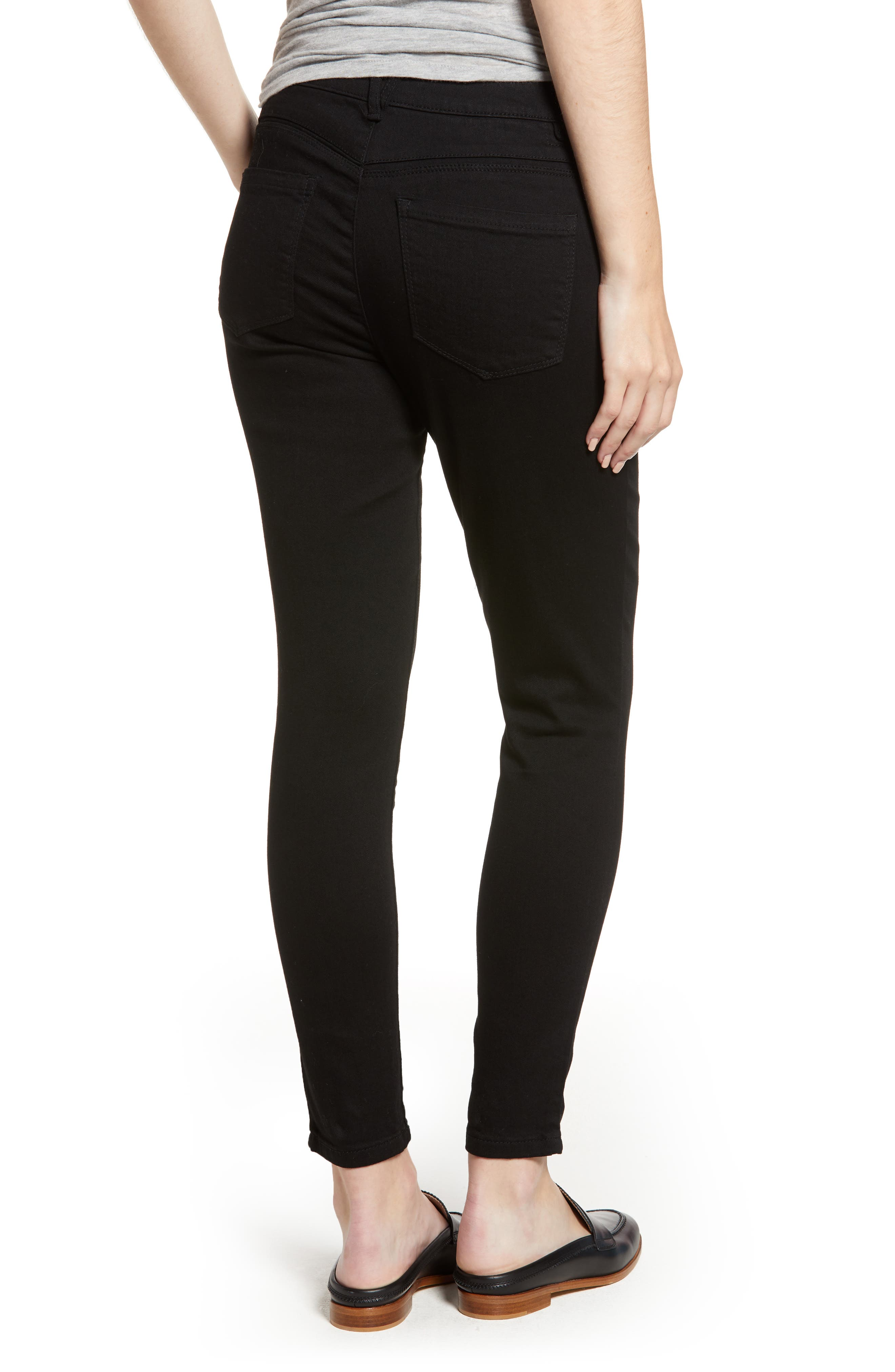 High Waist Ankle Skinny Jeans,                             Alternate thumbnail 2, color,                             001
