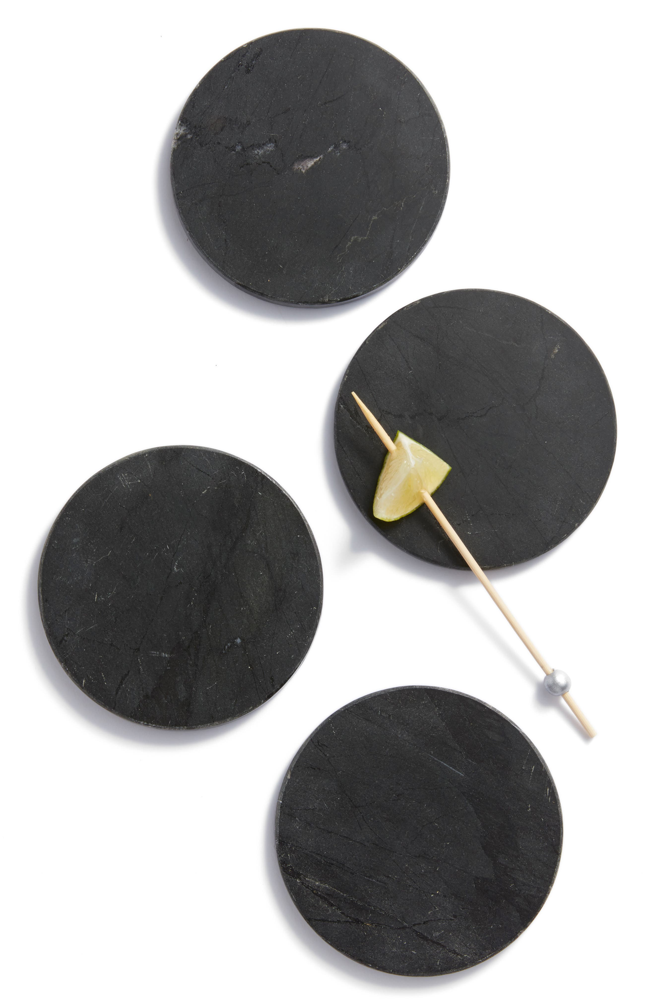 Black Marble Set of 4 Coasters, Main, color, 001