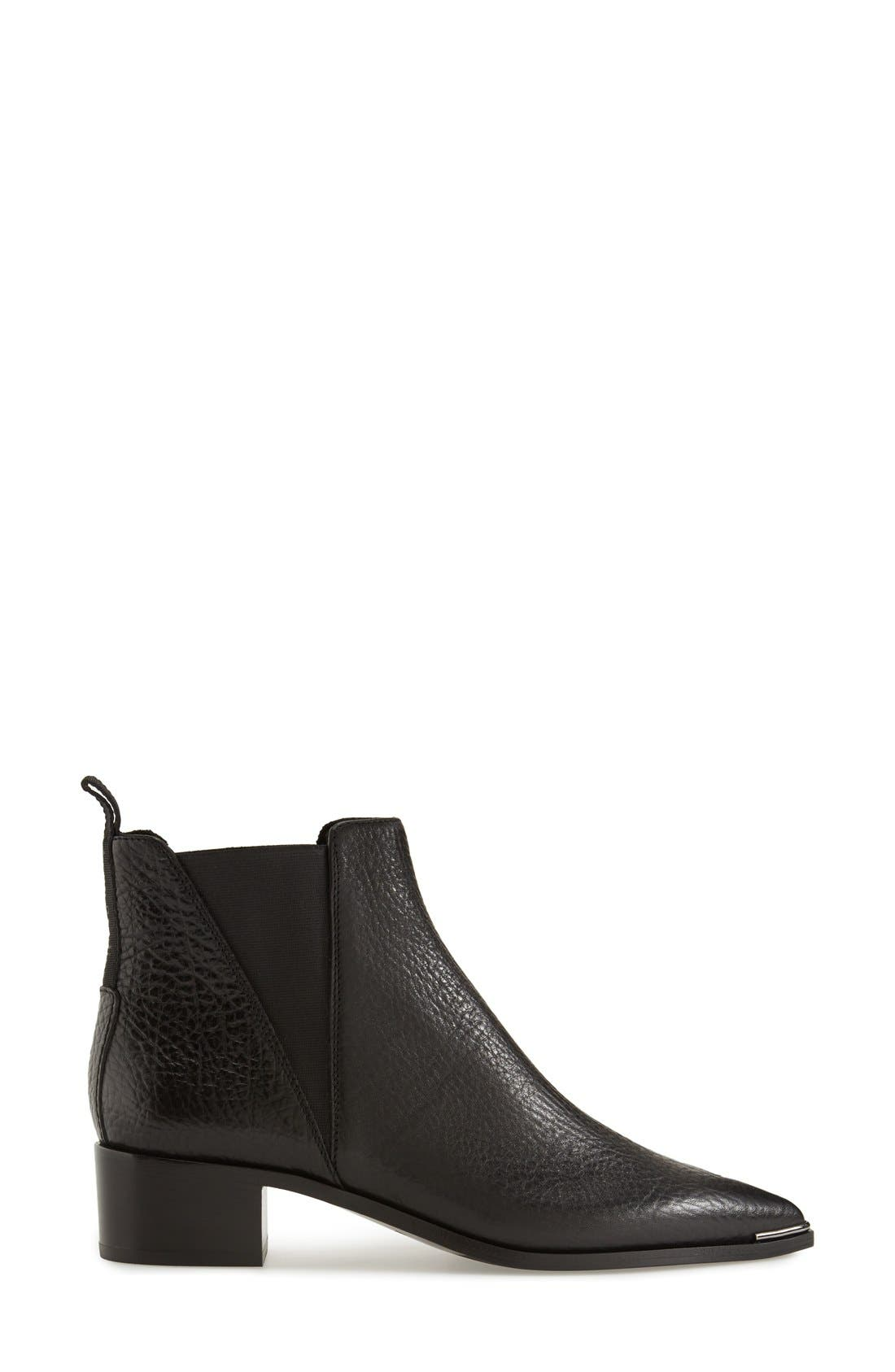 Jensen Pointy Toe Bootie,                             Alternate thumbnail 4, color,                             BLACK GRAIN LEATHER