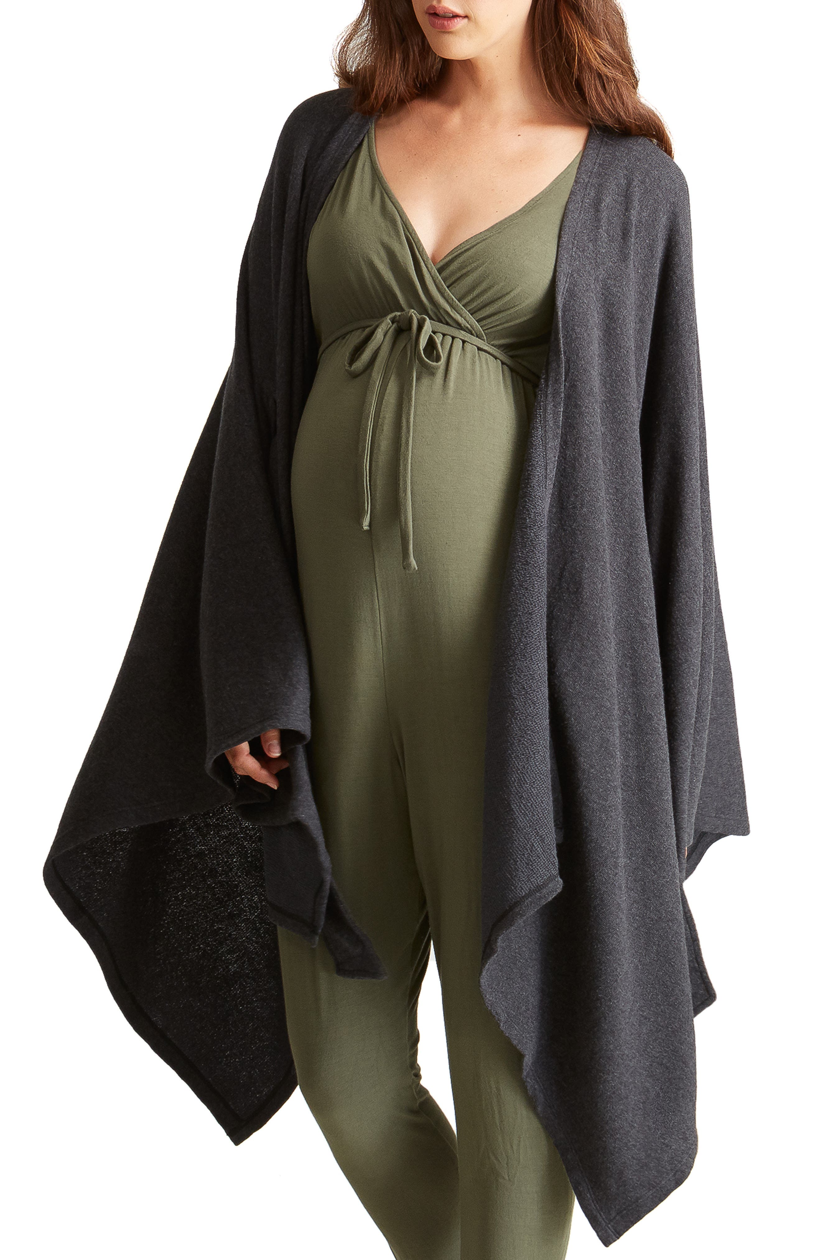 Cozy Maternity Wrap,                             Alternate thumbnail 4, color,                             CHARCOAL GREY