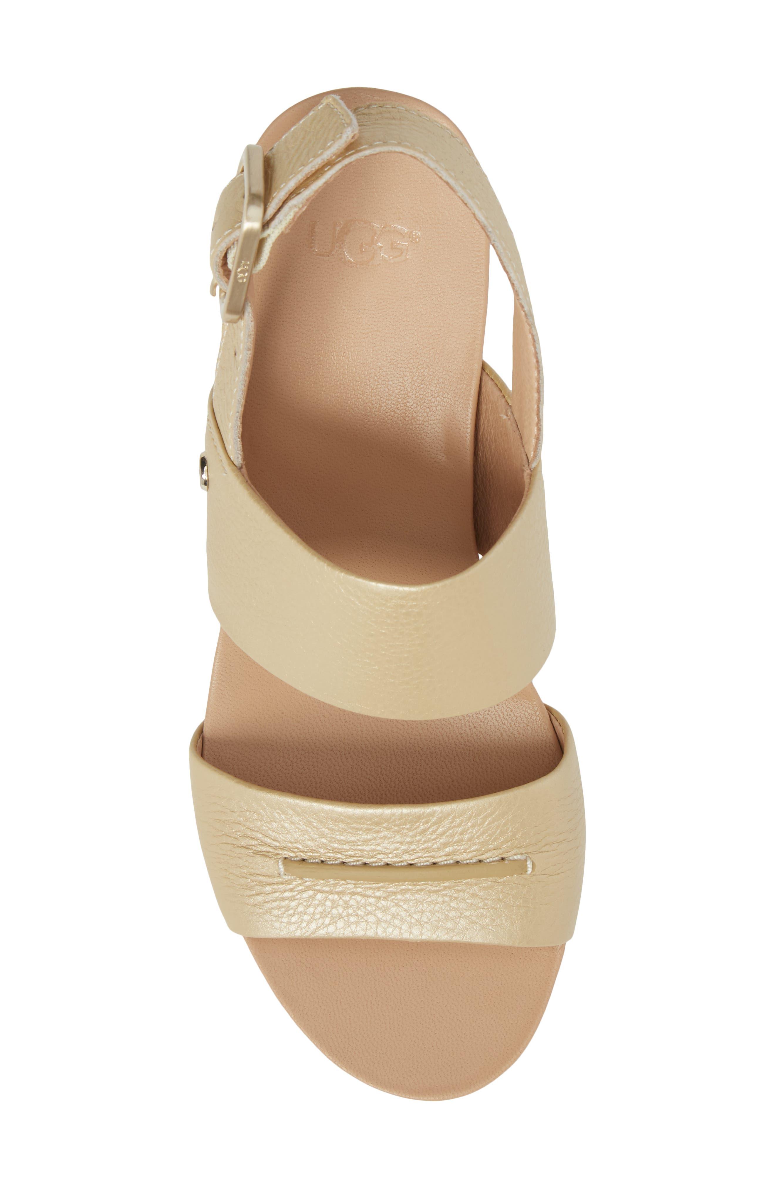 Elena II Metallic Platform Wedge Sandal,                             Alternate thumbnail 5, color,