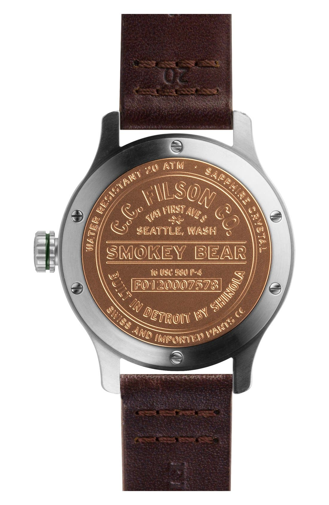 SHINOLA,                             x Filson The Smokey Bear Leather Strap Watch Gift Set, 43mm,                             Alternate thumbnail 3, color,                             200