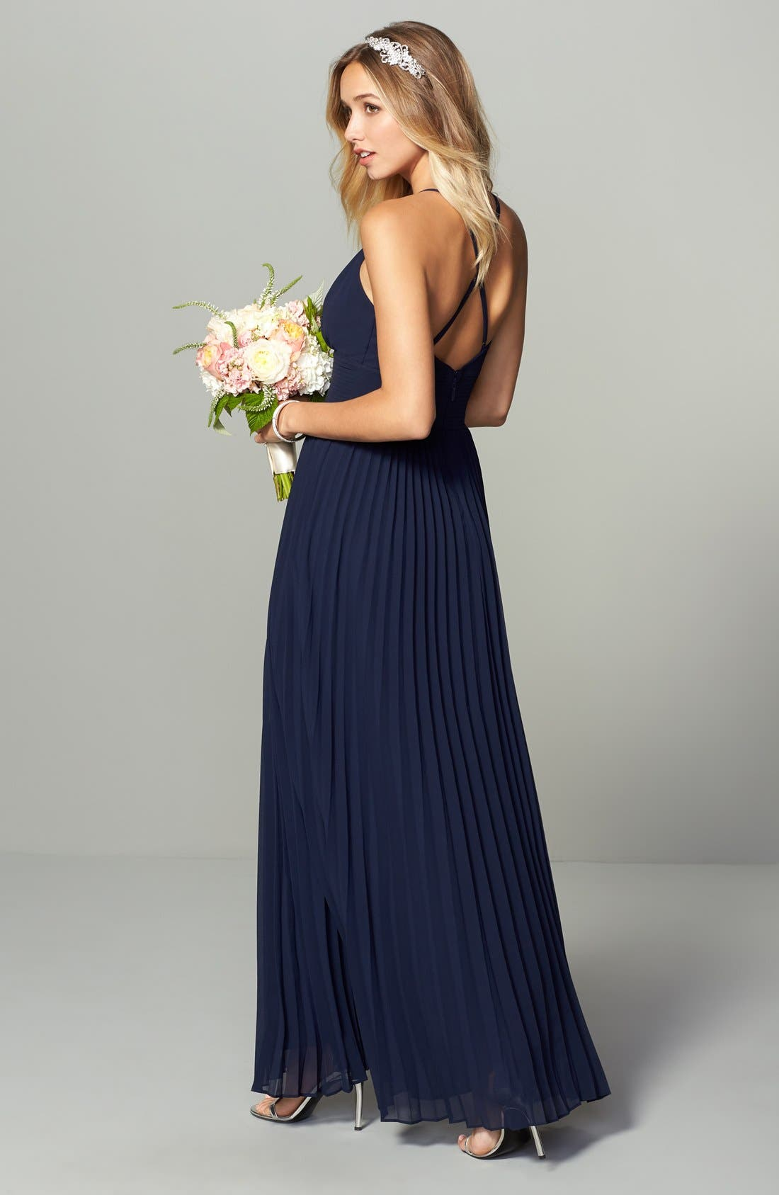 Plunging V-Neck Pleat Georgette Gown,                             Alternate thumbnail 2, color,                             400
