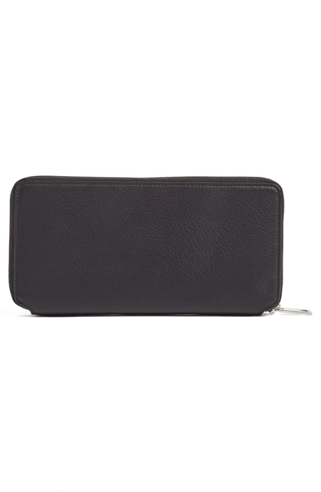 Leather Zip Around Wallet,                             Alternate thumbnail 4, color,                             BLACK