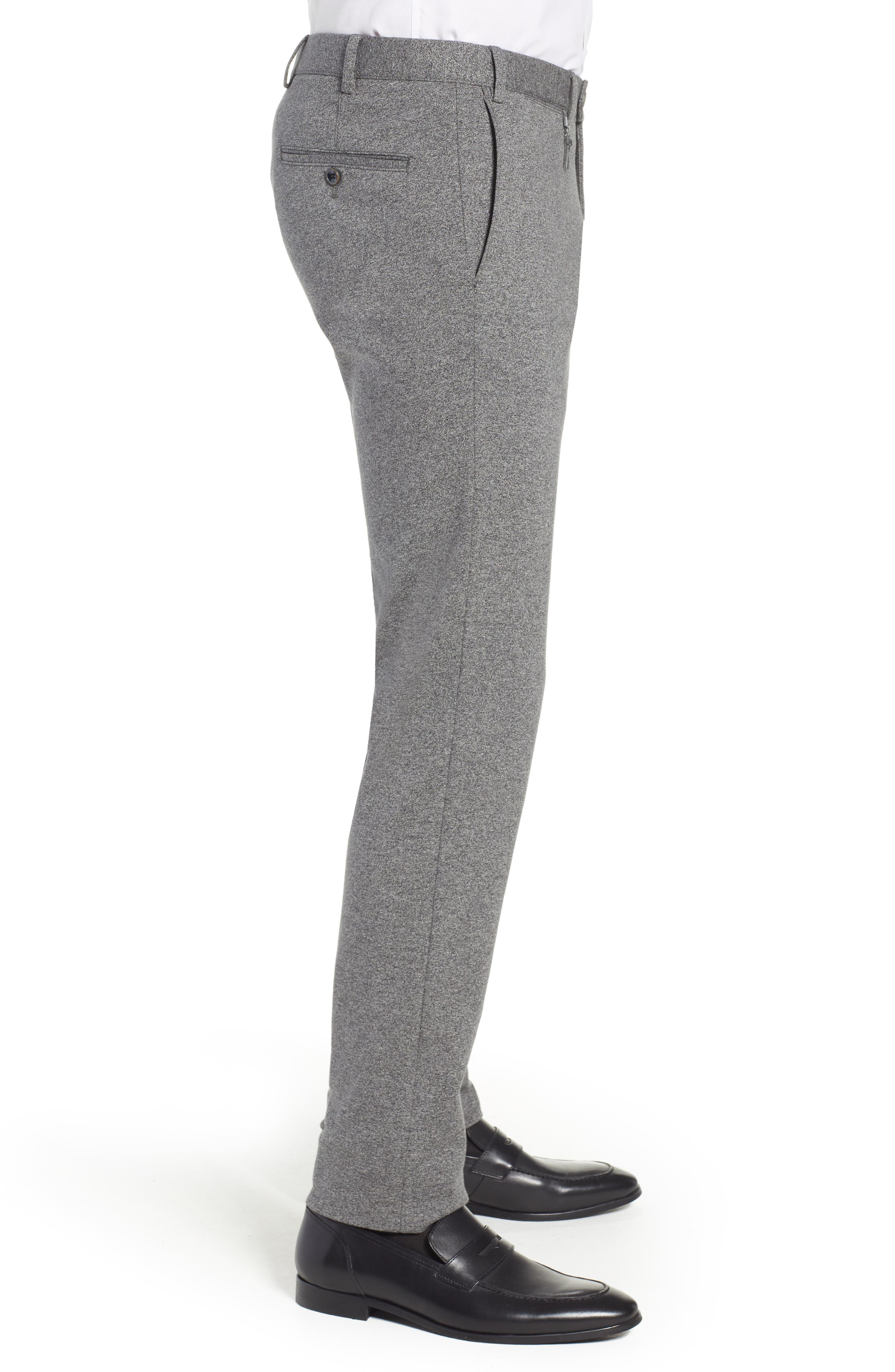 Tero Trim Fit Flat Front Solid Cotton Trousers,                             Alternate thumbnail 3, color,                             GREY