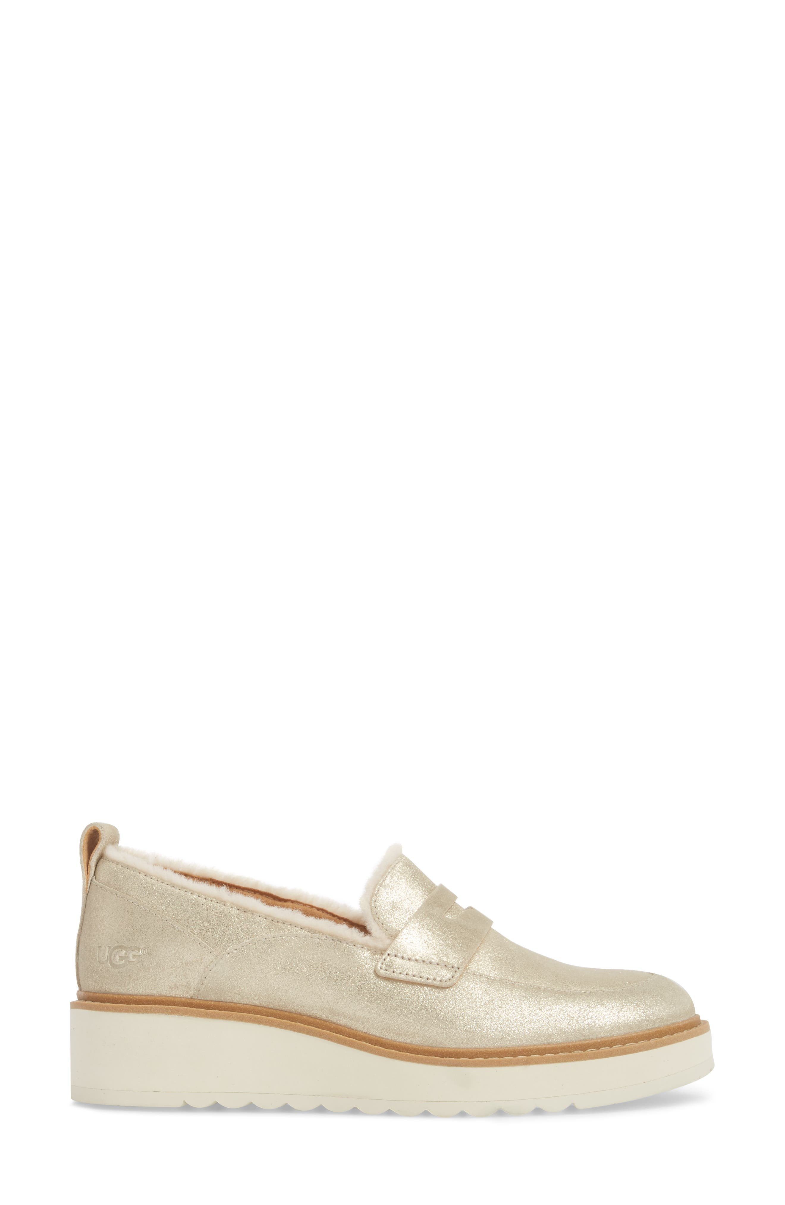 Atwater Metallic Wedge Loafer,                             Alternate thumbnail 3, color,                             710