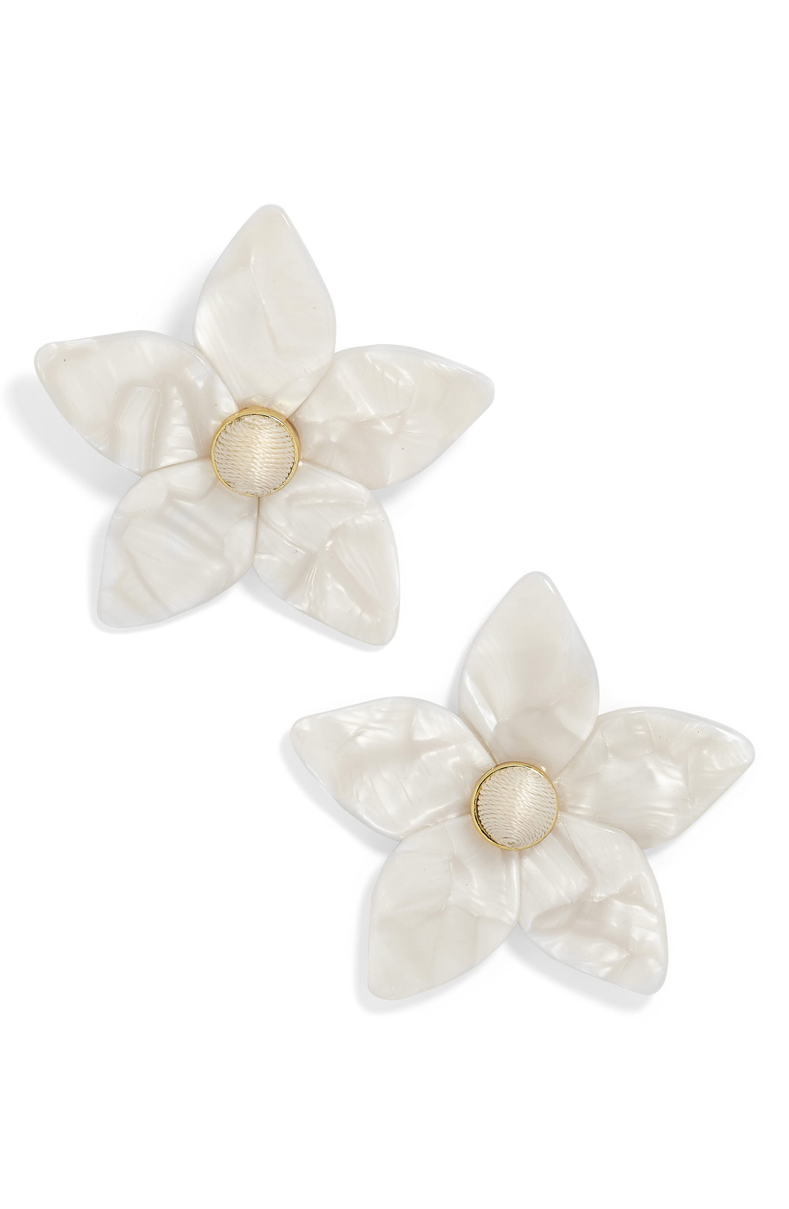 Amariella Acrylic Flower Stud Earrings,                         Main,                         color, WHITE