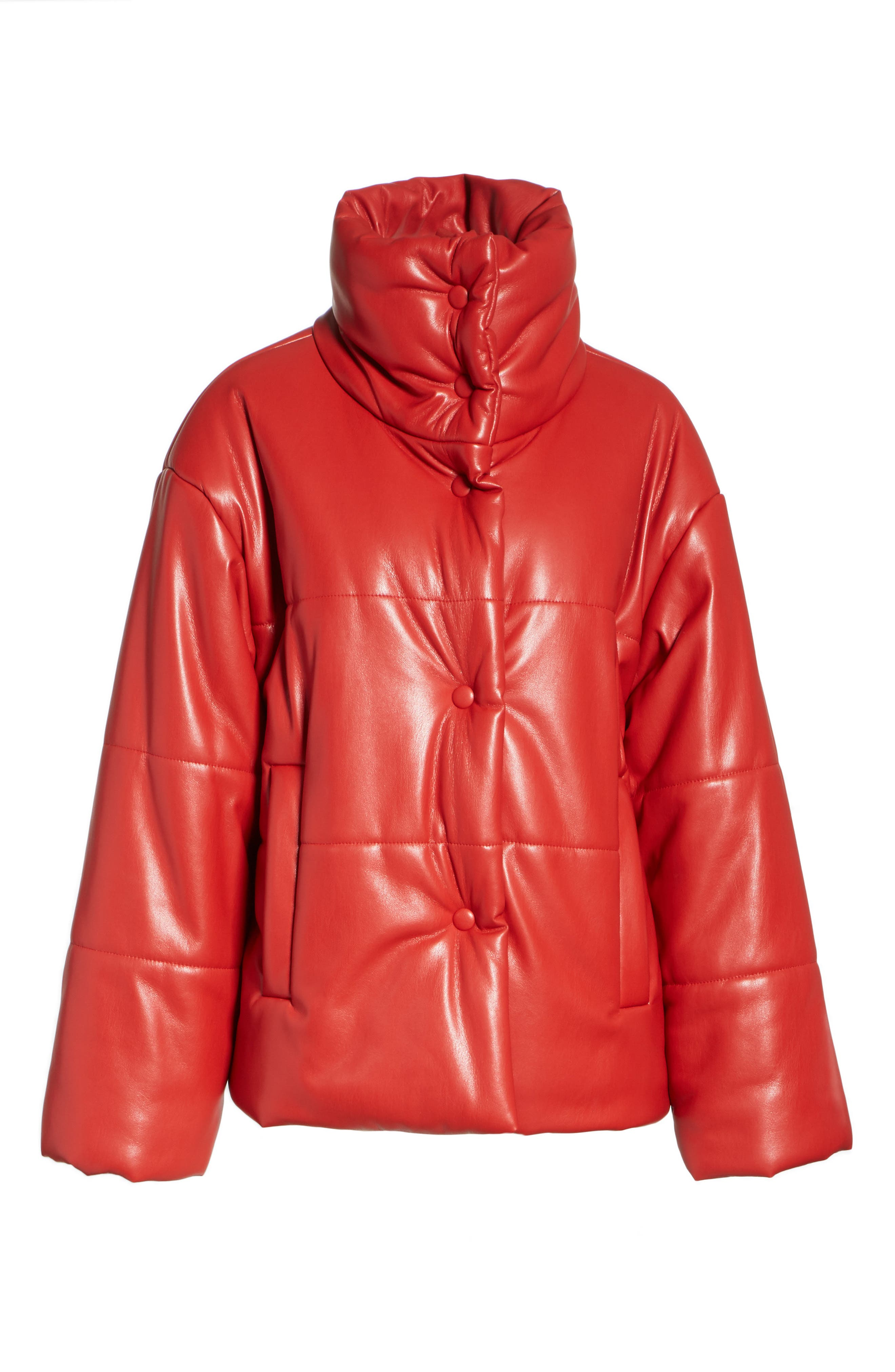 Hide Faux Leather Puffer Jacket,                             Alternate thumbnail 5, color,                             RED