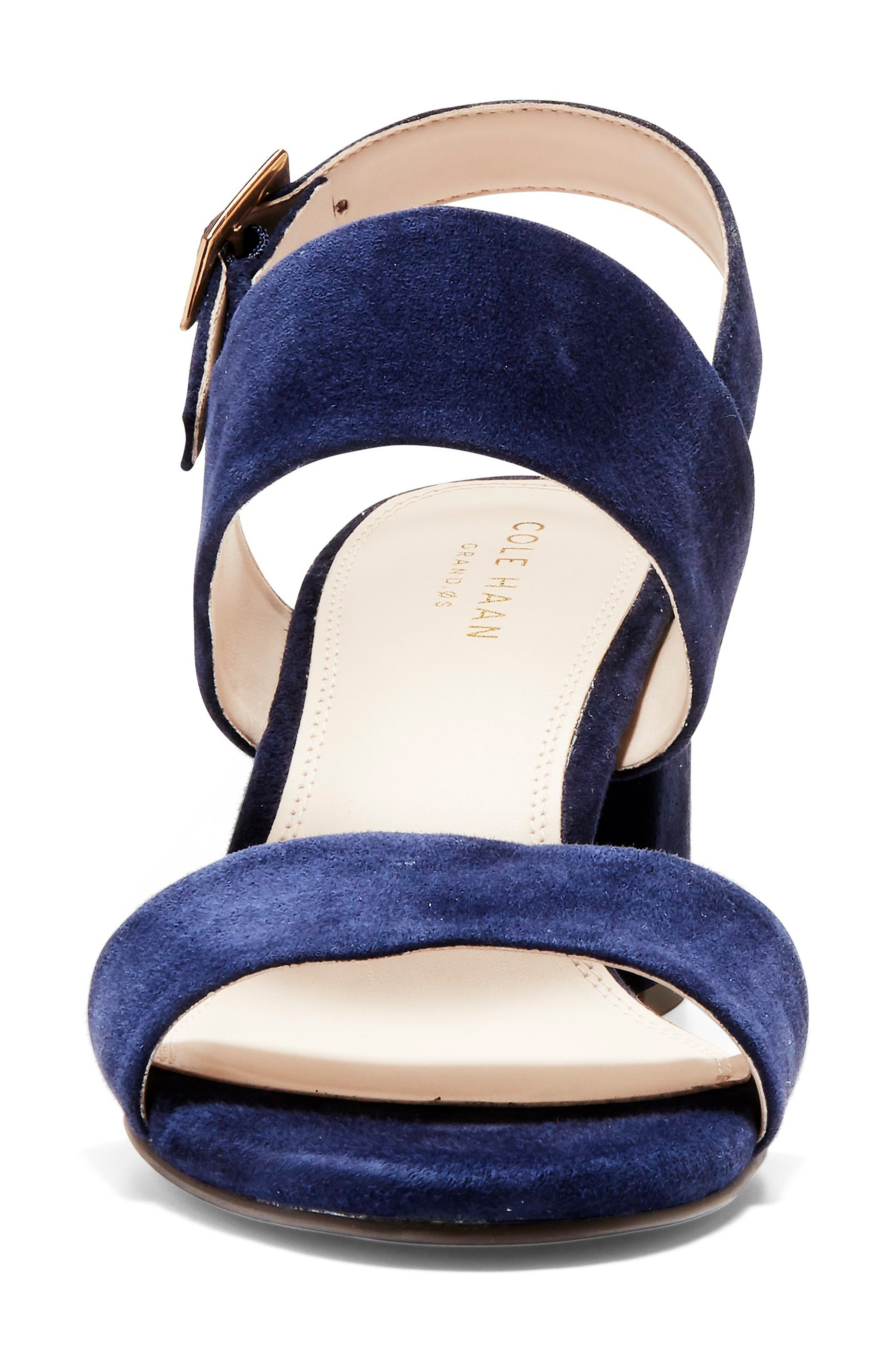 Avani Block Heel Sandal,                             Alternate thumbnail 4, color,                             MARINE BLUE SUEDE