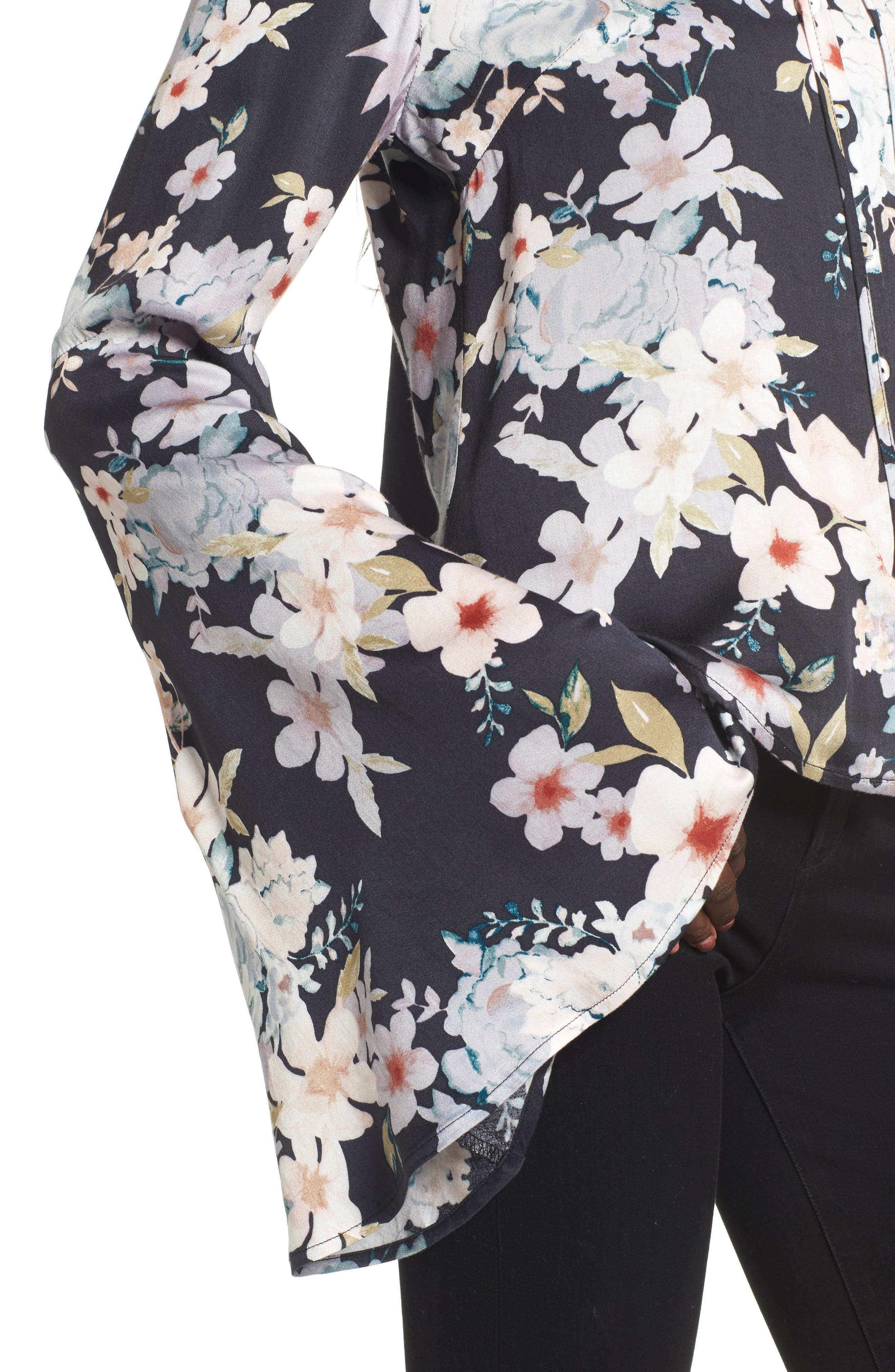 Mystic Nights Floral Blouse,                             Alternate thumbnail 4, color,                             400