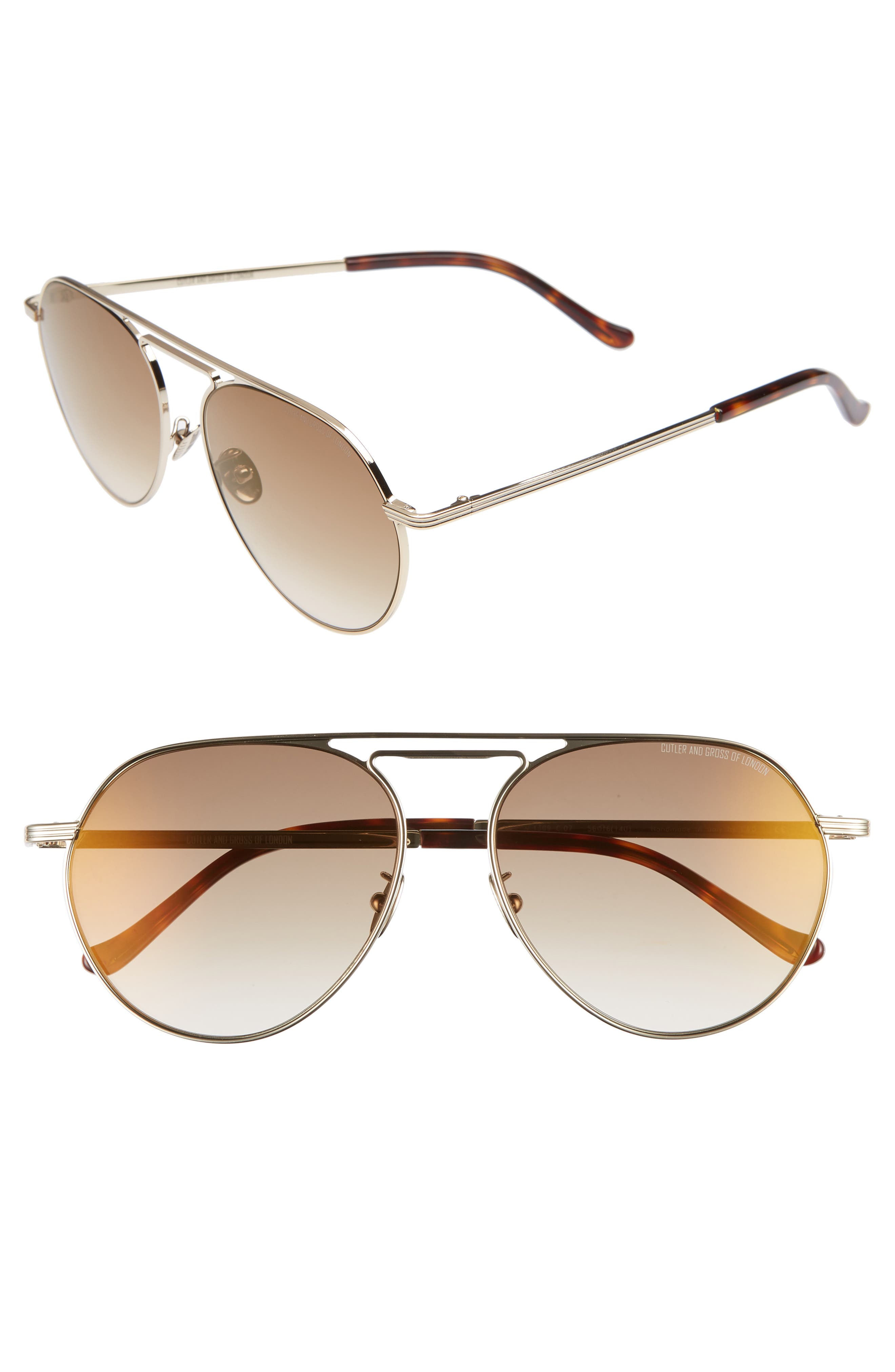 56mm Polarized Aviator Sunglasses,                         Main,                         color, BROWN GOLD/ BROWN