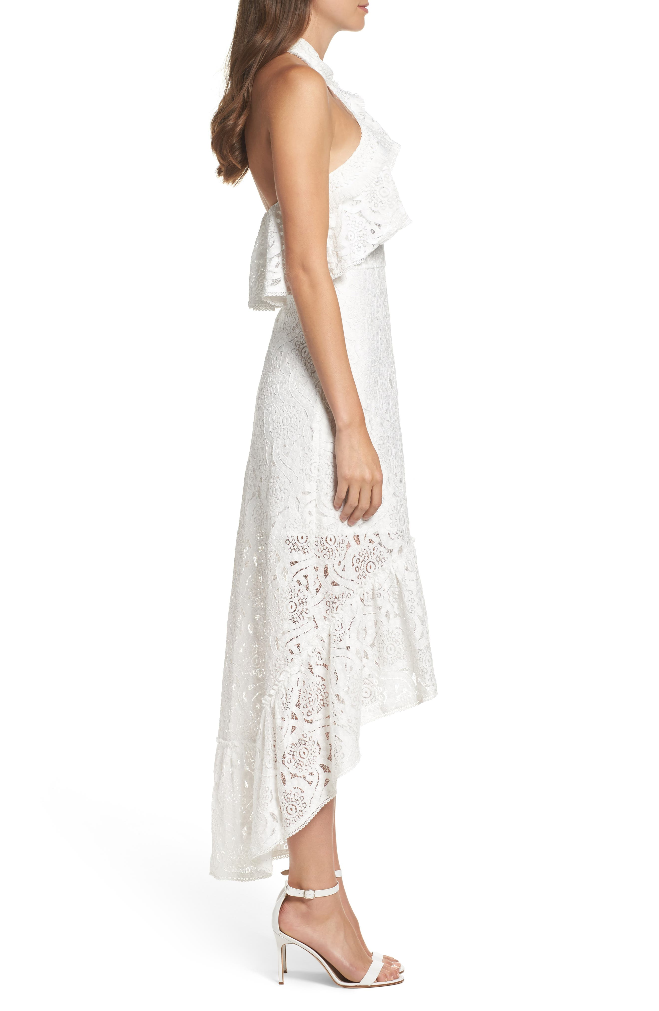 Lace Halter High/Low Gown,                             Alternate thumbnail 3, color,                             100