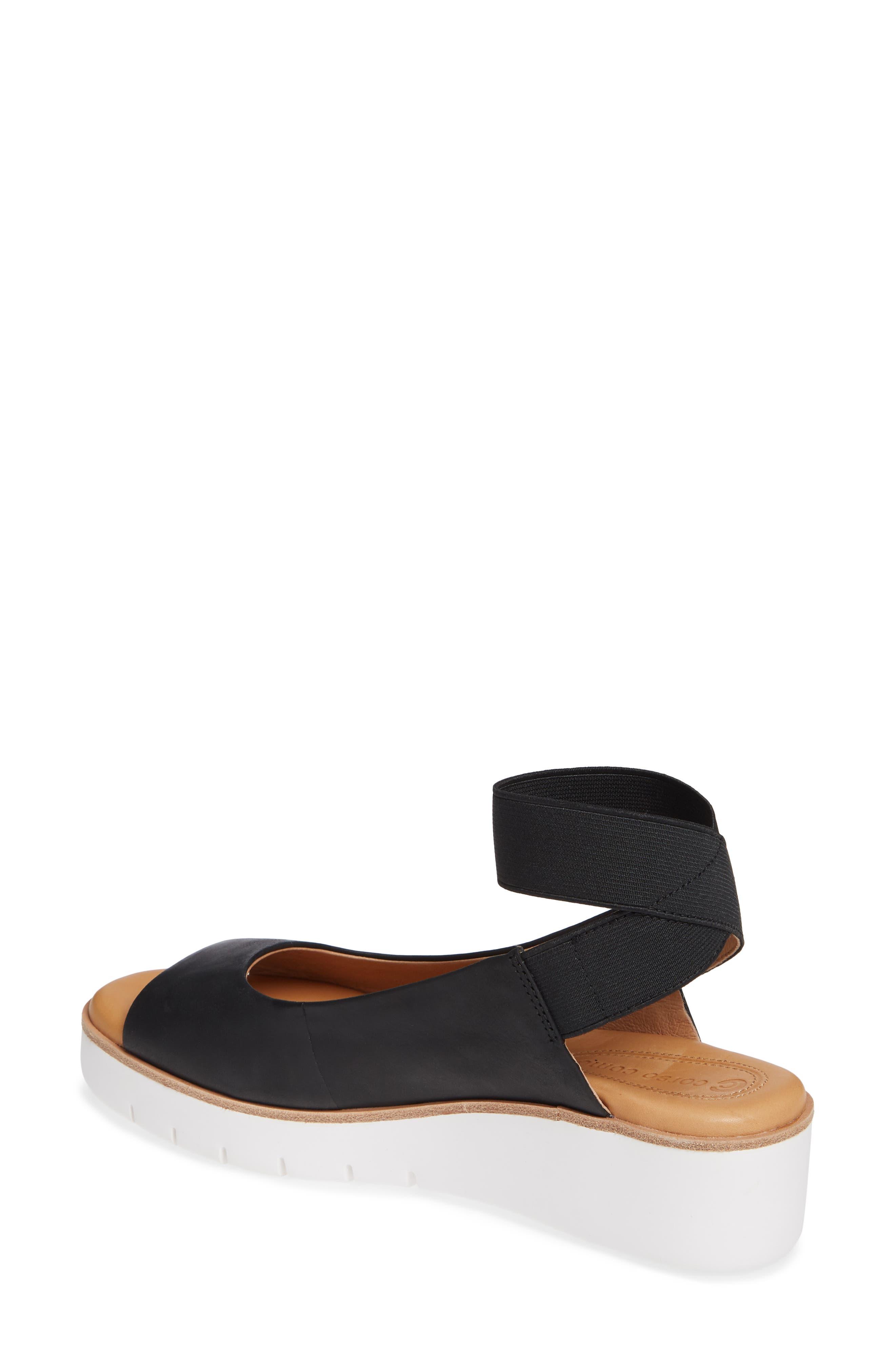 Beeata Wedge Sandal,                             Alternate thumbnail 2, color,                             BLACK LEATHER