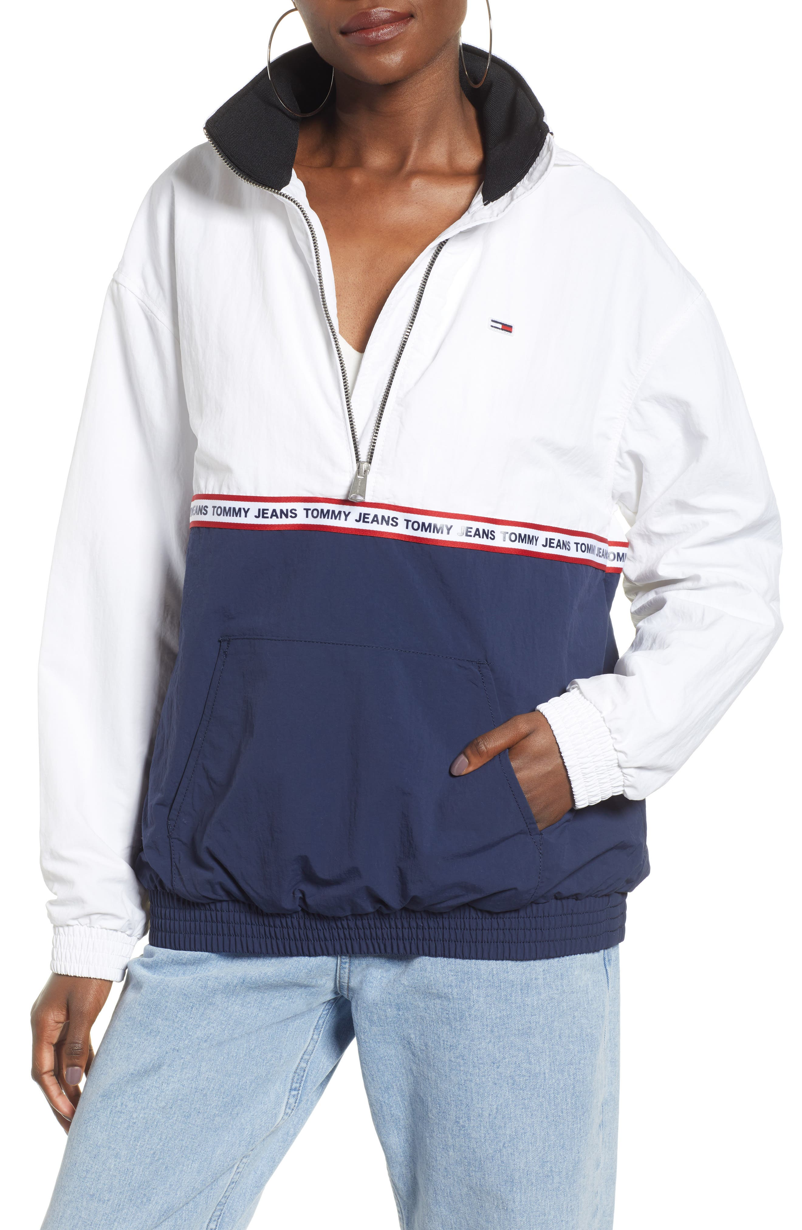 TOMMY JEANS TJW Logo Tape Pullover, Main, color, 400