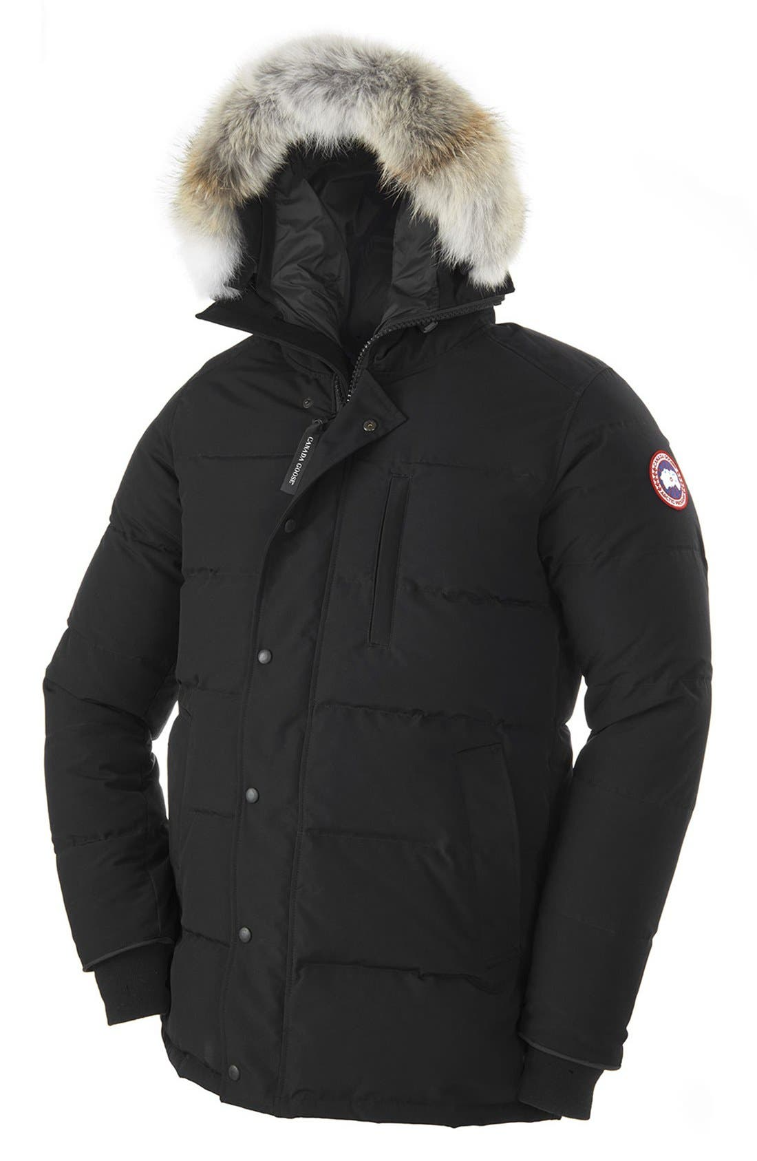 'Carson' Slim Fit Hooded Packable Parka with Genuine Coyote Fur Trim,                             Alternate thumbnail 6, color,                             BLACK
