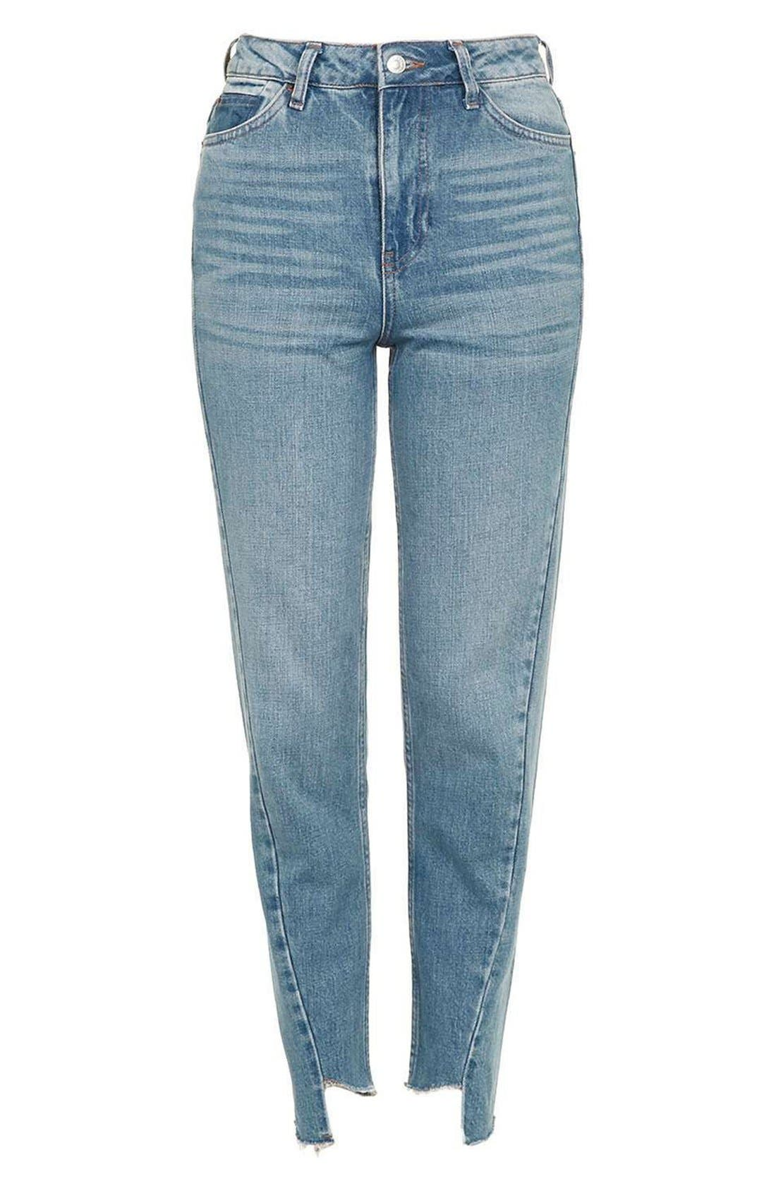 Mom Asymmetrical Step Hem Jeans,                             Alternate thumbnail 3, color,                             400