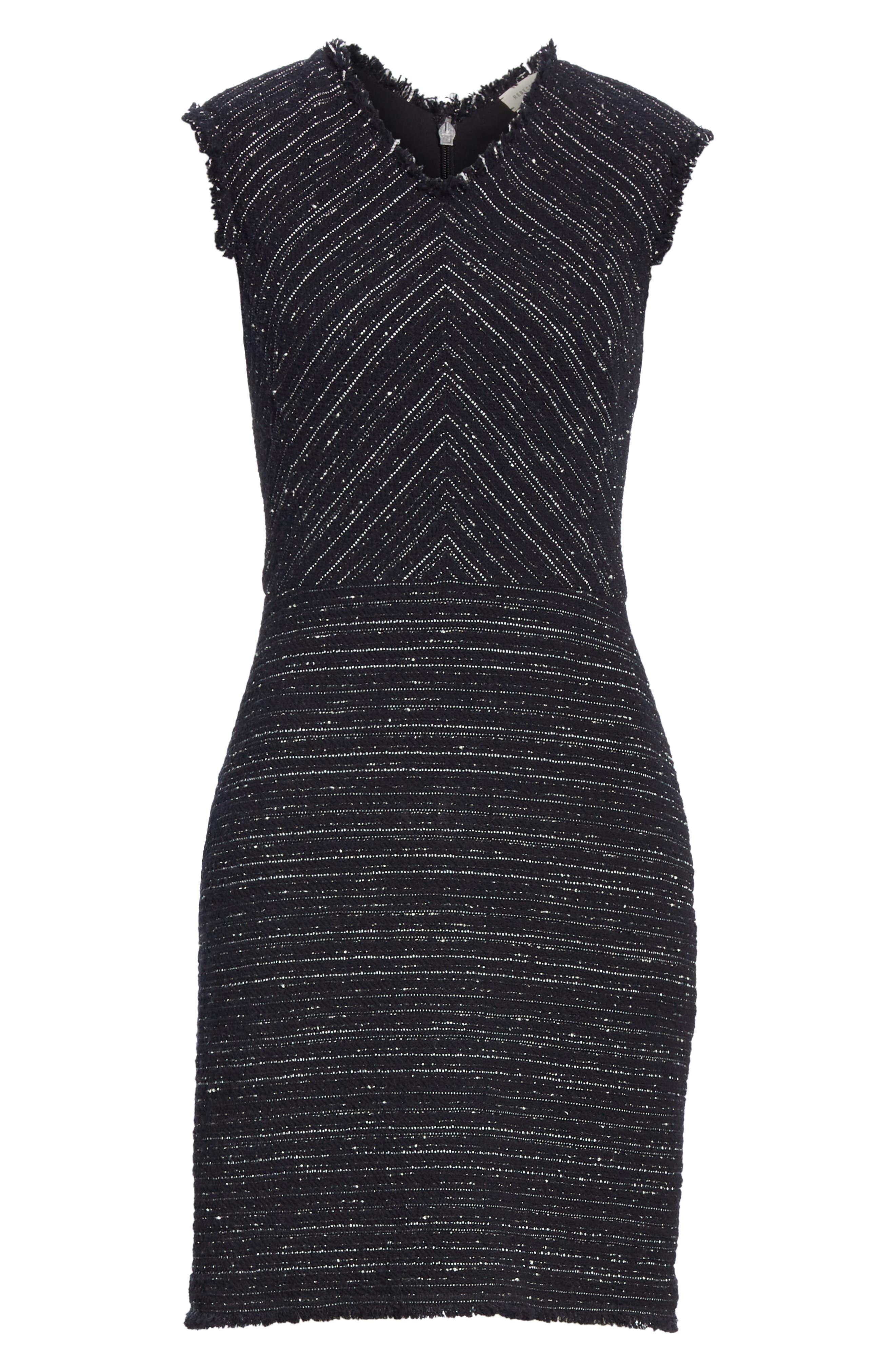 Stretch Cotton Blend Tweed Sheath Dress,                             Alternate thumbnail 6, color,                             BLACK COMBO