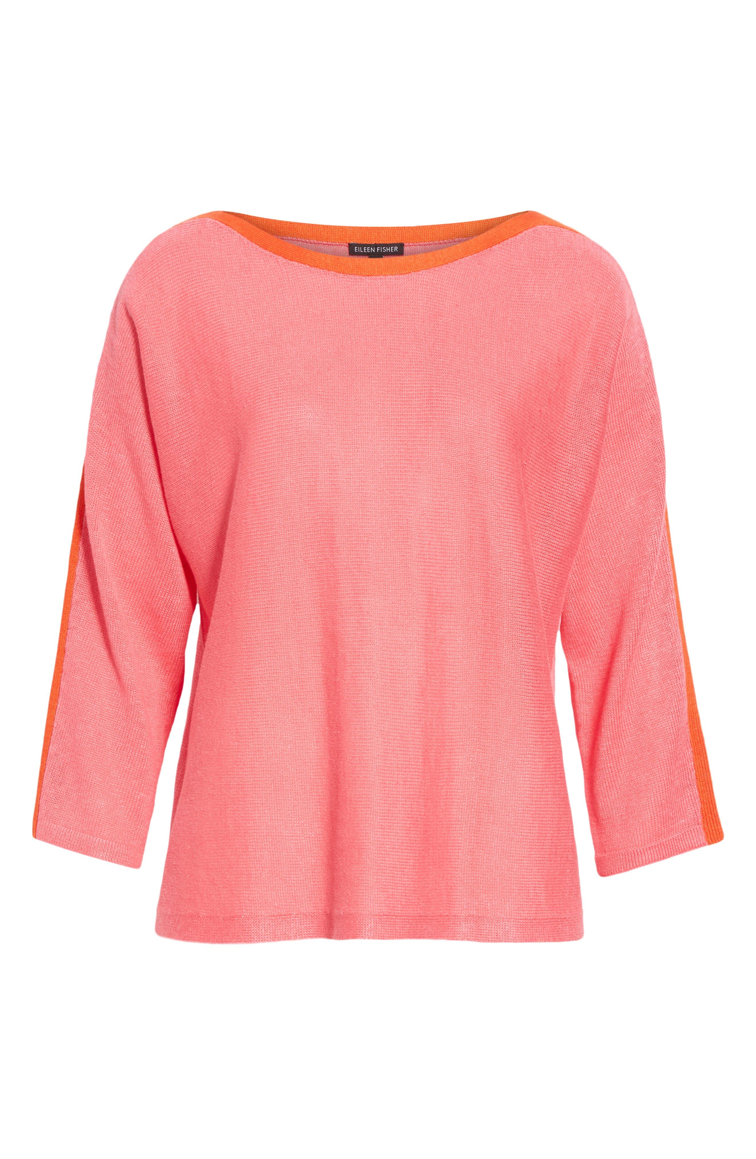 Stripe Detail Linen Sweater,                             Alternate thumbnail 6, color,                             CHERRY LANE