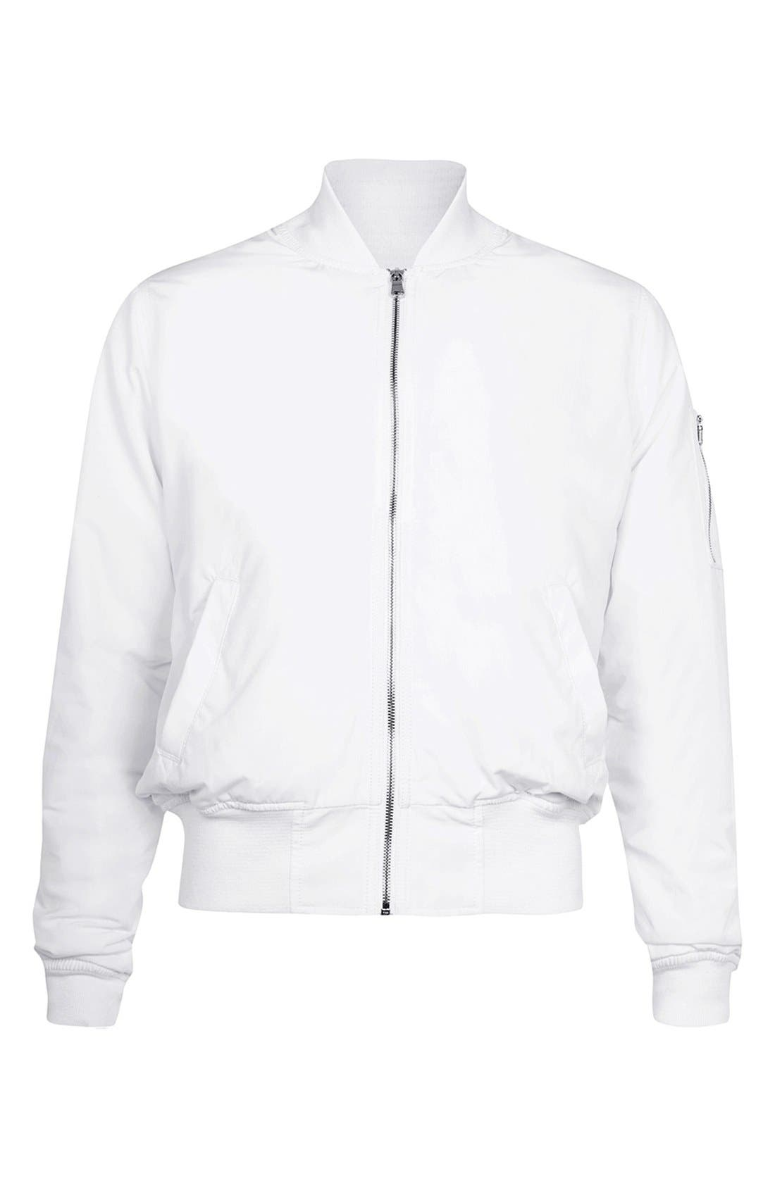 AAA Collection Ruched Back Bomber Jacket,                             Alternate thumbnail 3, color,                             100