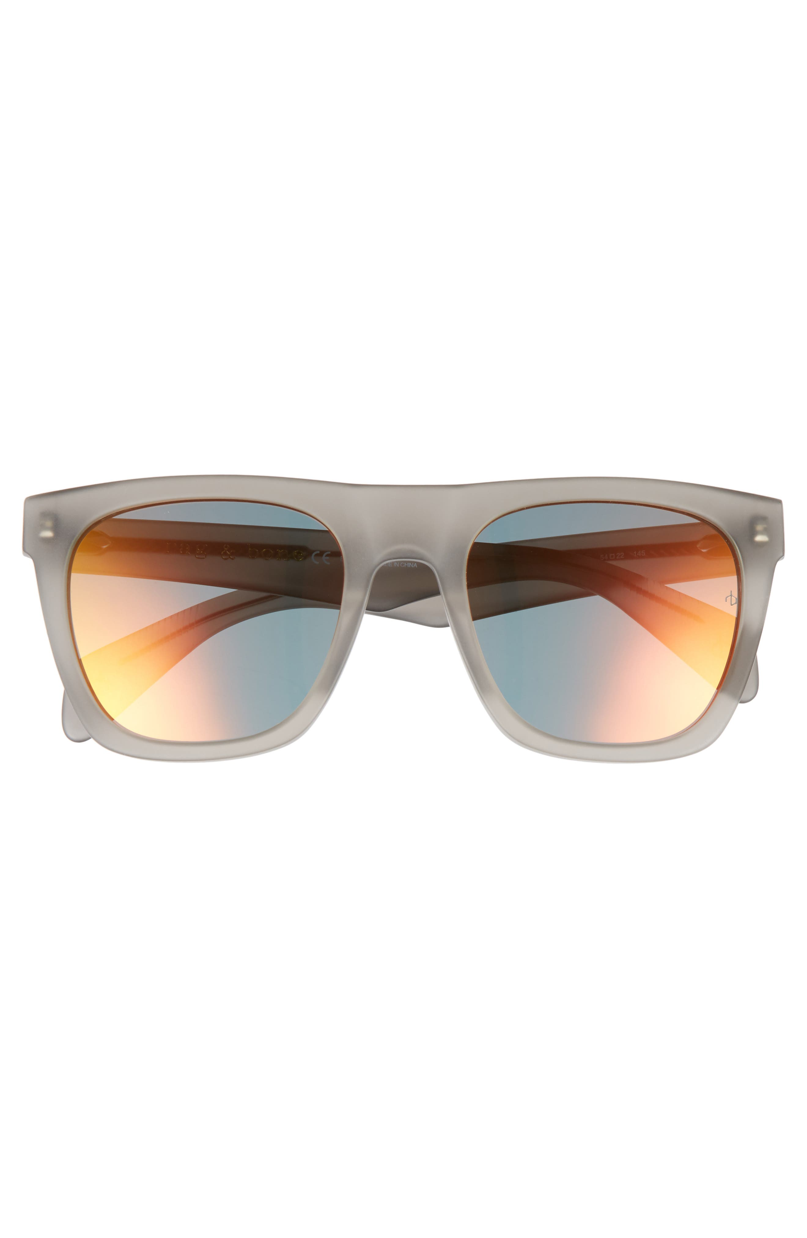 54mm Mirrored Sunglasses,                             Alternate thumbnail 2, color,                             MATTE GREY