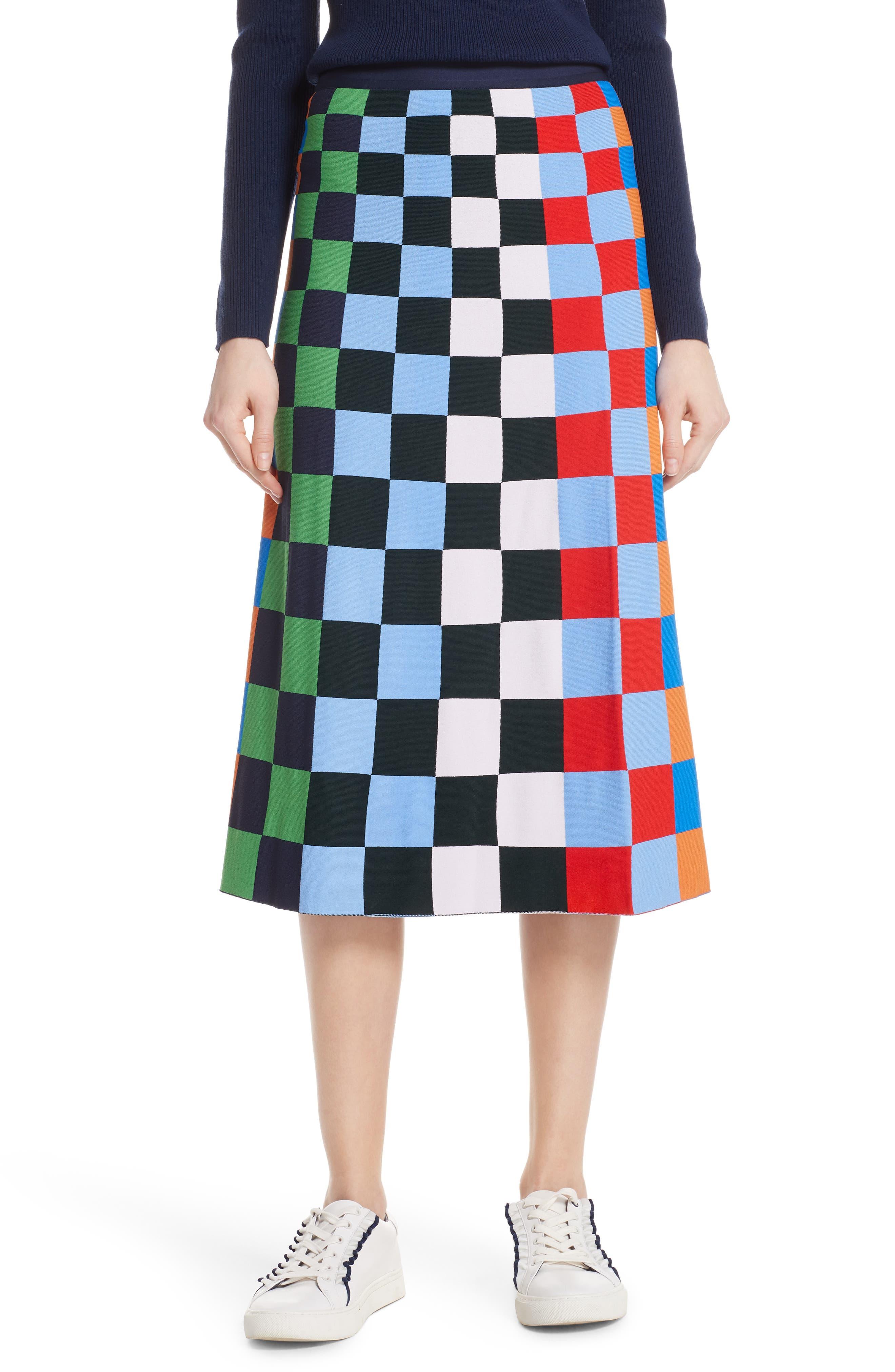 Check Tech Knit Skirt,                             Main thumbnail 1, color,                             CHECK STRIPE ALLOVER MULTI