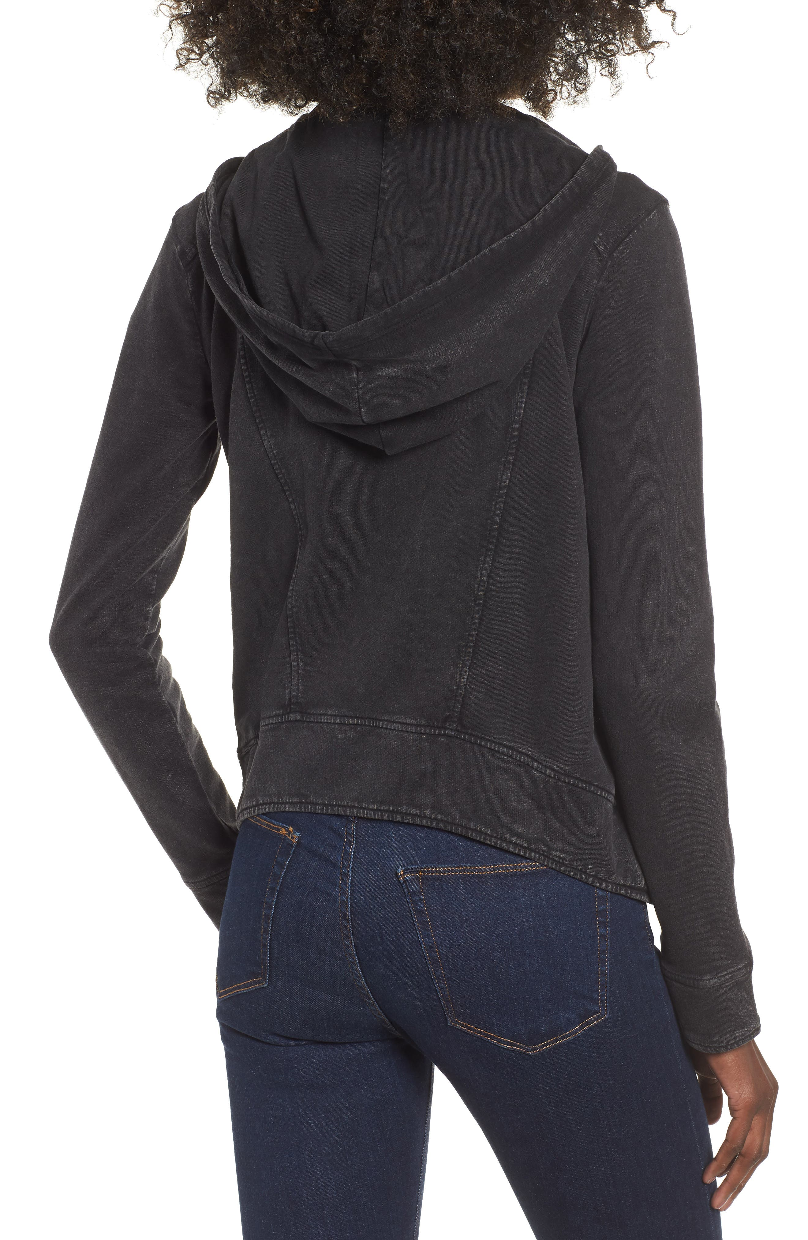 Hooded Knit Moto Jacket,                             Alternate thumbnail 2, color,                             BLACK