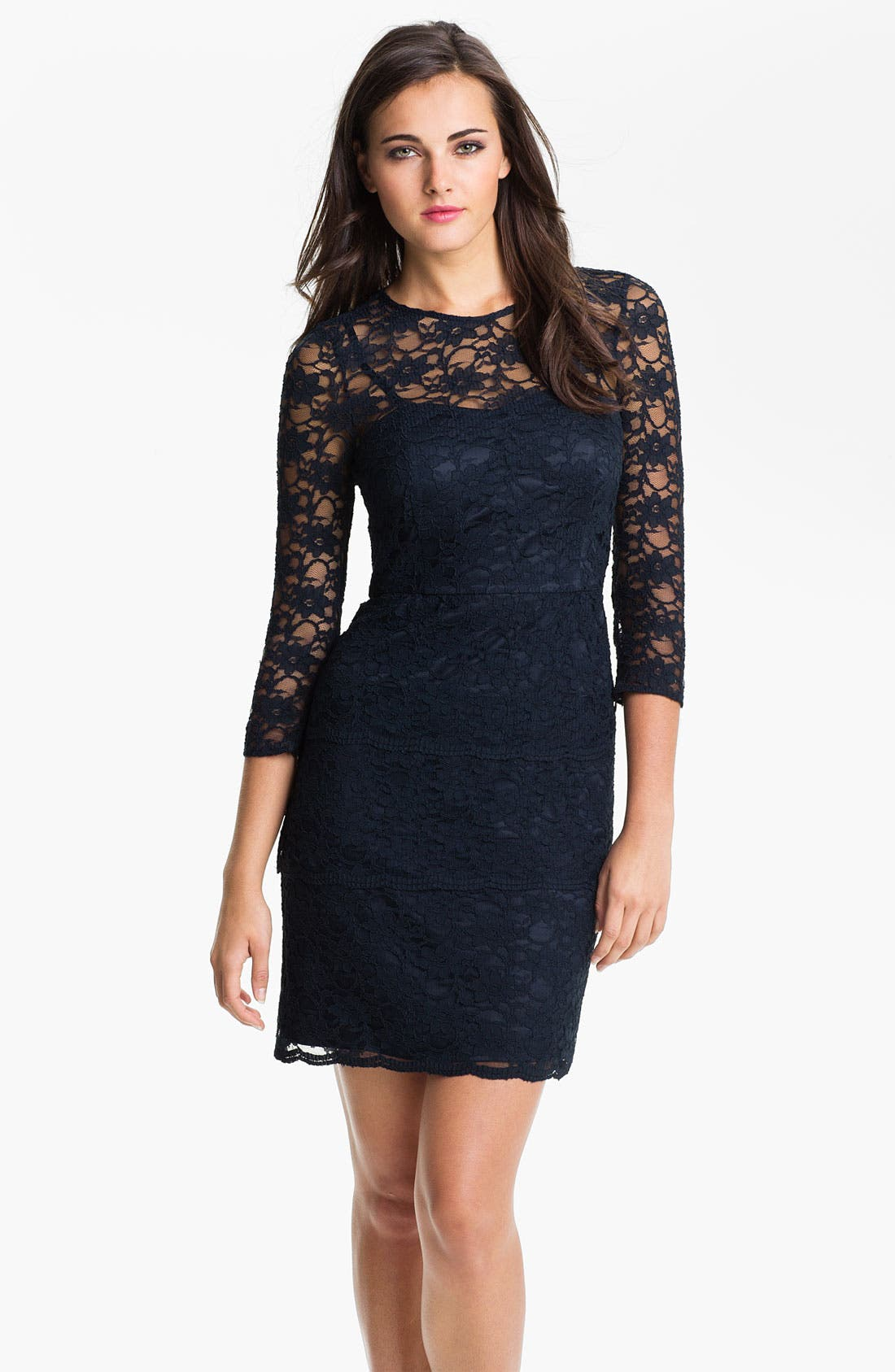ELIZA J,                             Illusion Sleeve Lace Sheath Dress,                             Main thumbnail 1, color,                             410