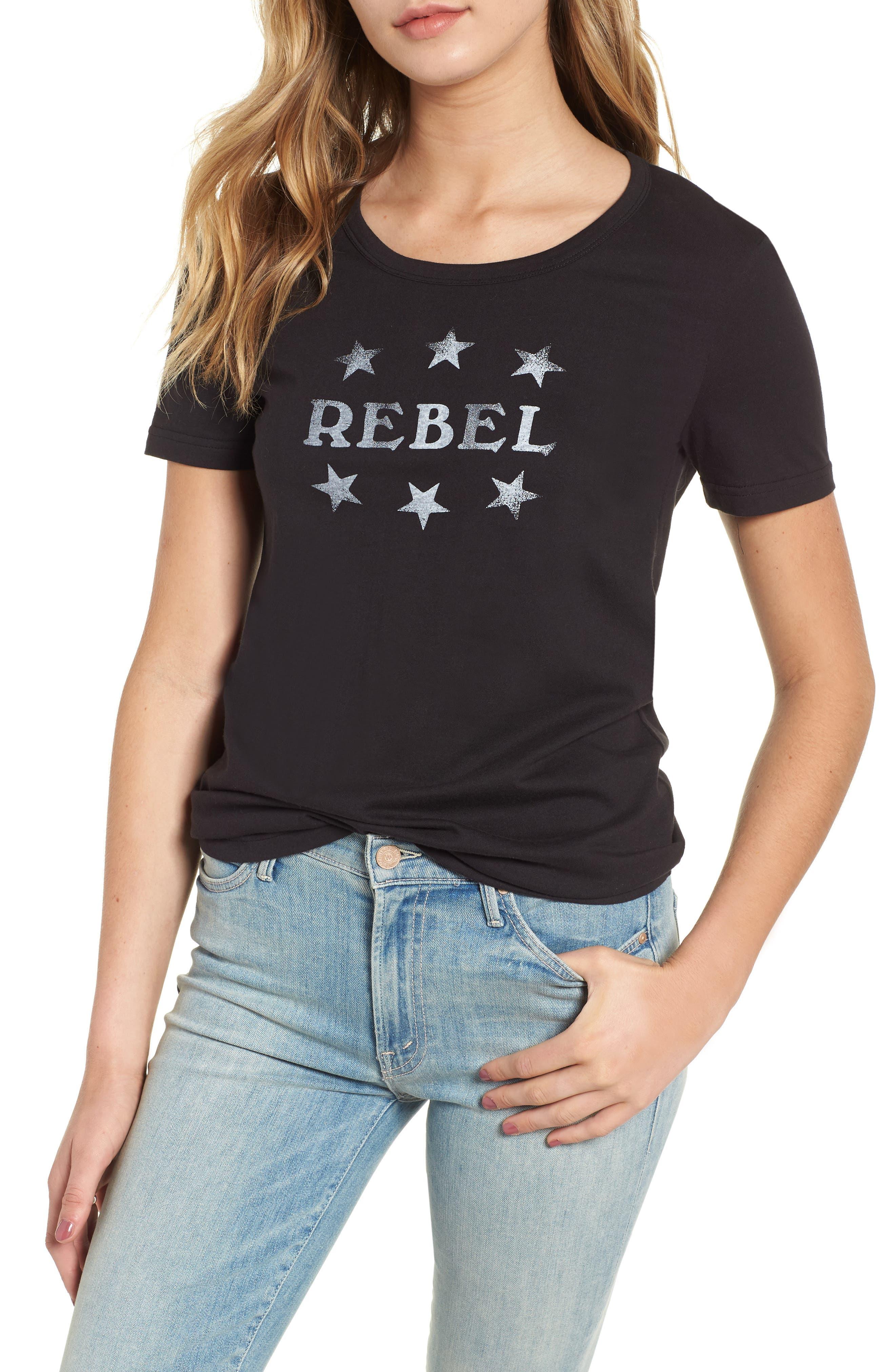 Rebel Ava Tee,                             Main thumbnail 1, color,                             BLACK/ WHITE