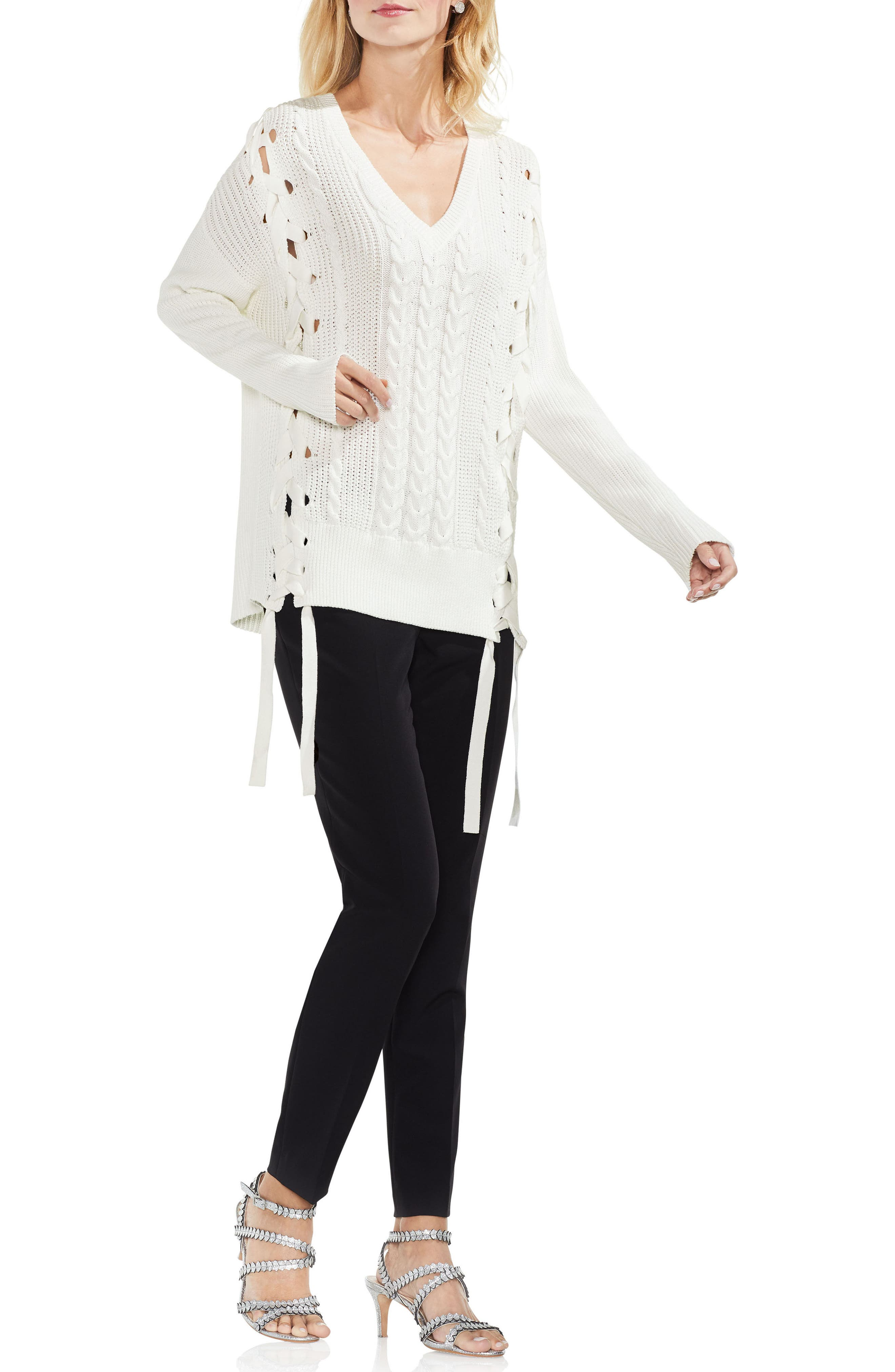 Lace-Up Cable Sweater,                             Alternate thumbnail 4, color,