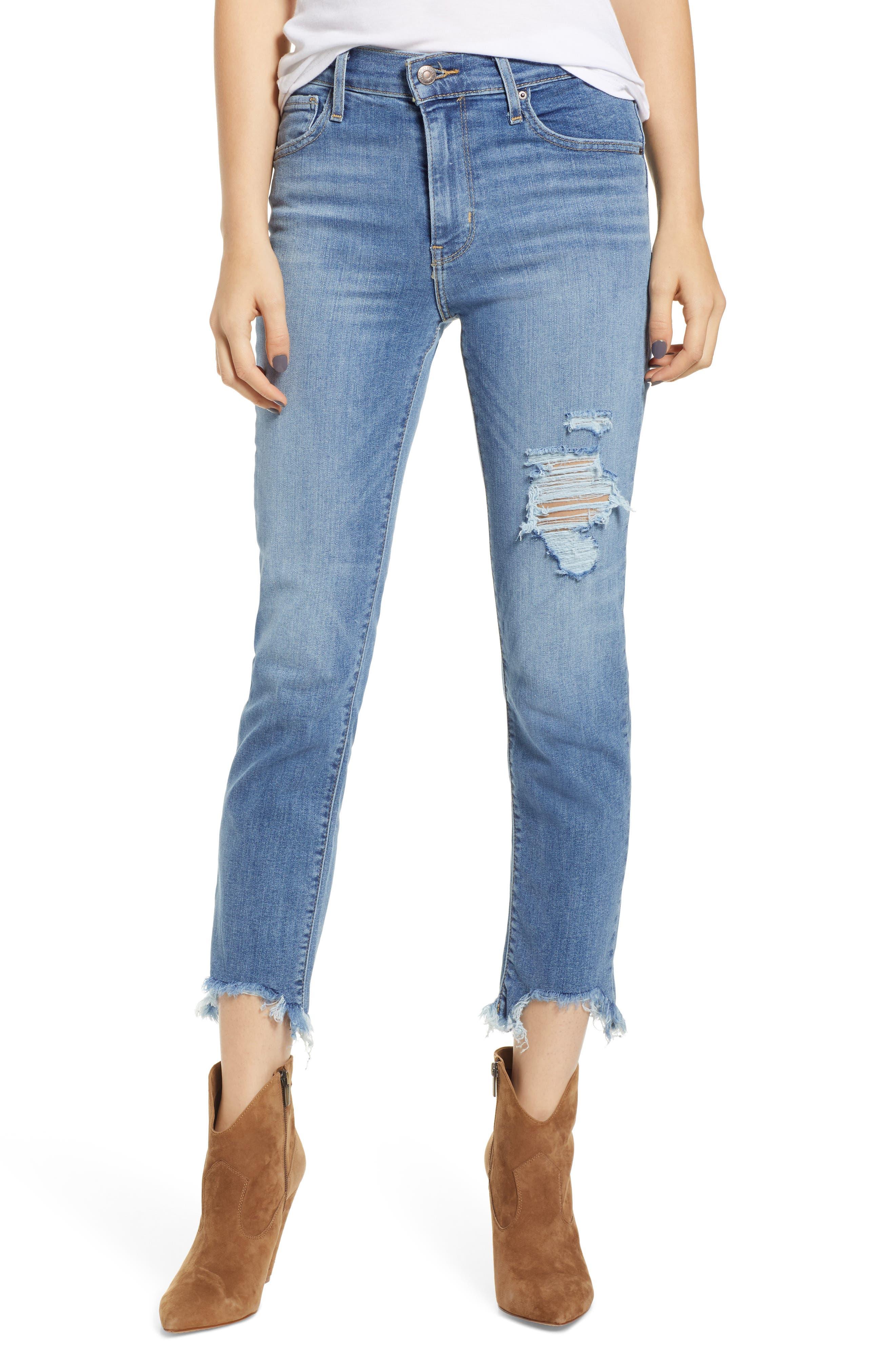 724<sup>™</sup> Ripped High Waist Raw Edge Crop Jeans, Main, color, 420