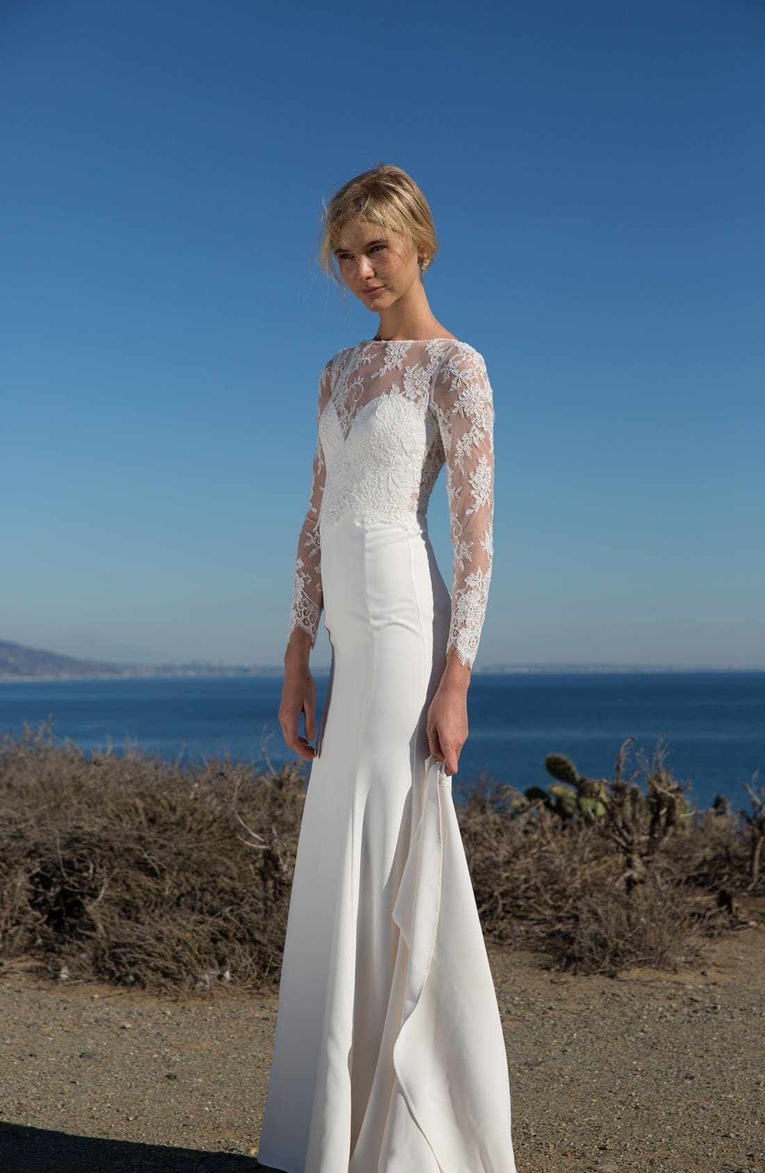Noelle Long Sleeve Lace & Crepe Gown,                             Alternate thumbnail 4, color,                             IVORY