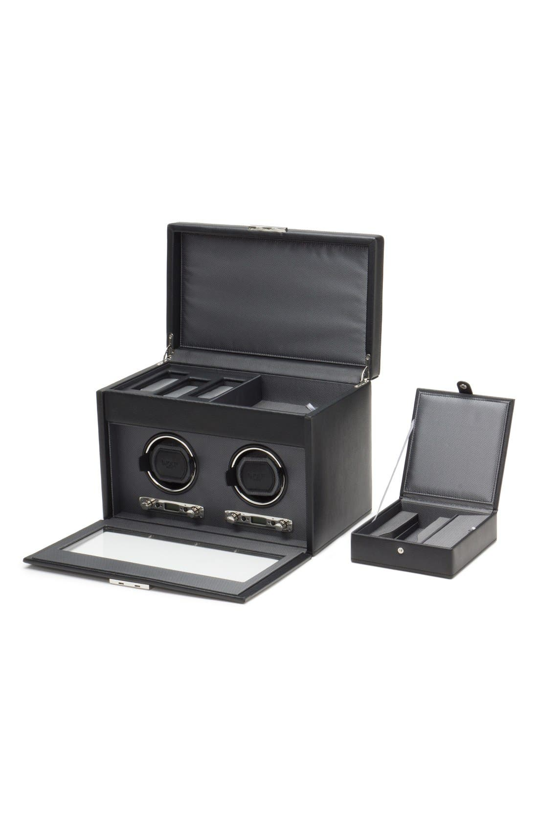 Viceroy Double Watch Winder & Storage Space,                             Alternate thumbnail 3, color,                             BLACK